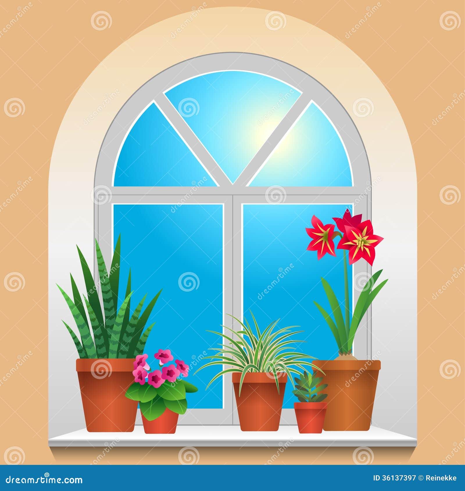 Houseplants on window stock vector. Illustration of summer - 36137397 for Inside Window Clipart  56bof