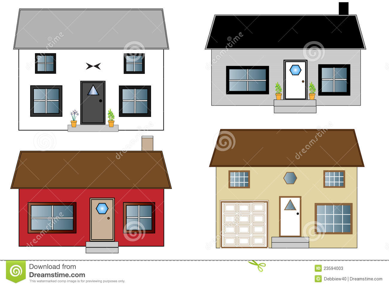 Cool Four Houses In Different Colors Royalty Free Stock Images Image Largest Home Design Picture Inspirations Pitcheantrous