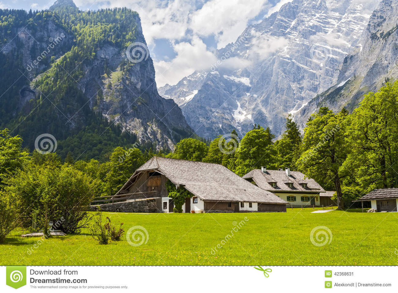 Houses in the alps stock image image of silence house for Building a house in the mountains