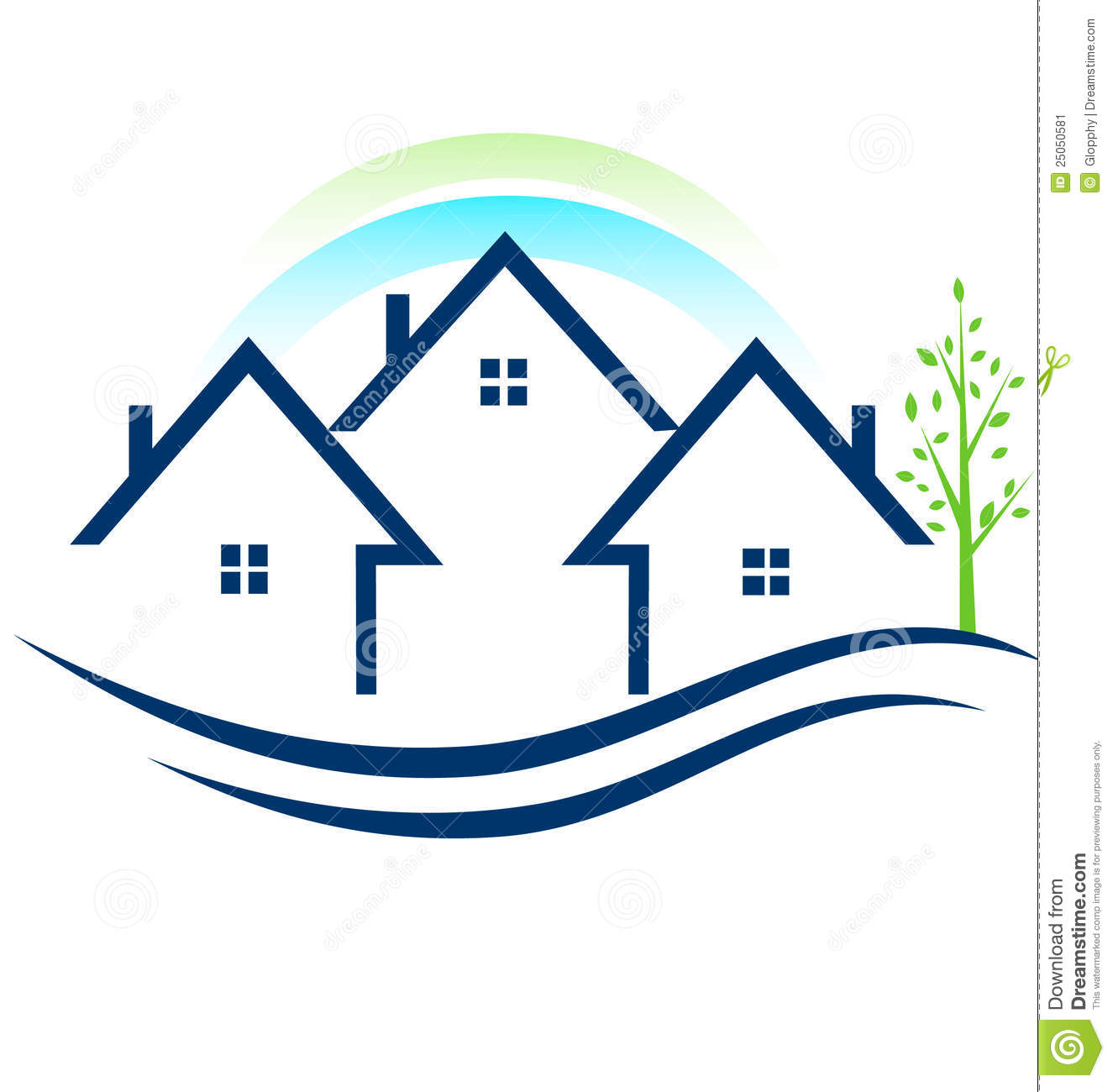 Houses Apartments With Tree Logo Stock Vector ...