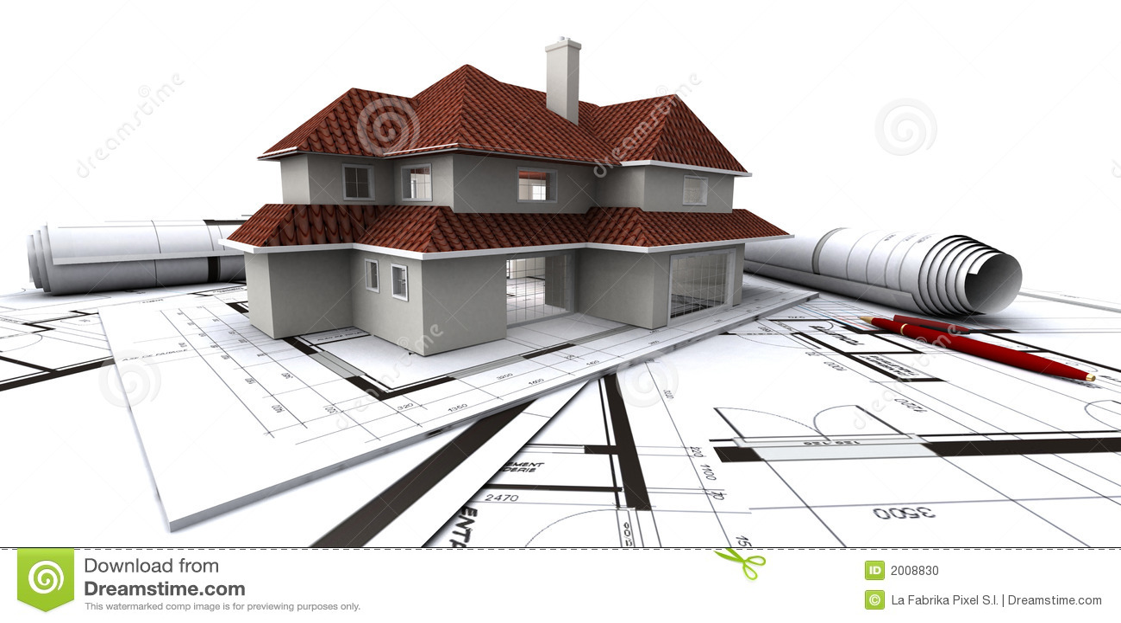 Houses On Architects Plan Stock Photo Image 2008830