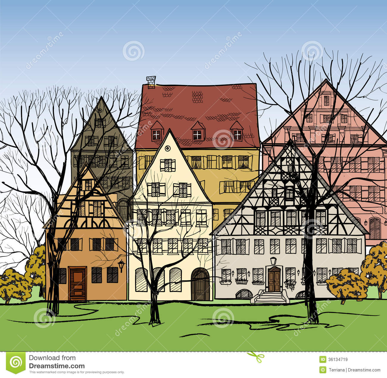 Desktop Wallpaper European Cities: Houses Background. European Cityscape. Cosy Street