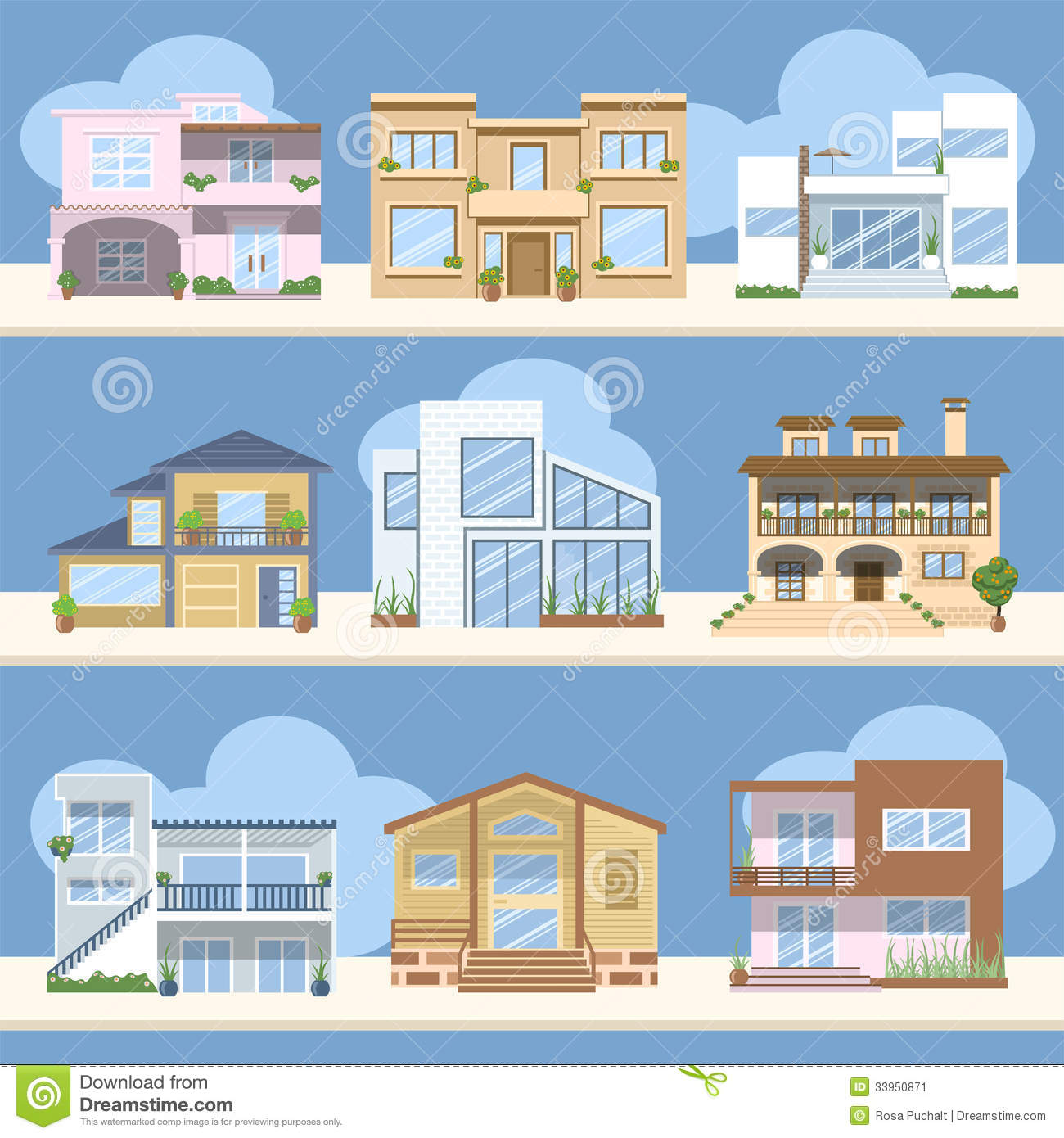 Houses with beautiful colors and designs stock image for Different models of houses