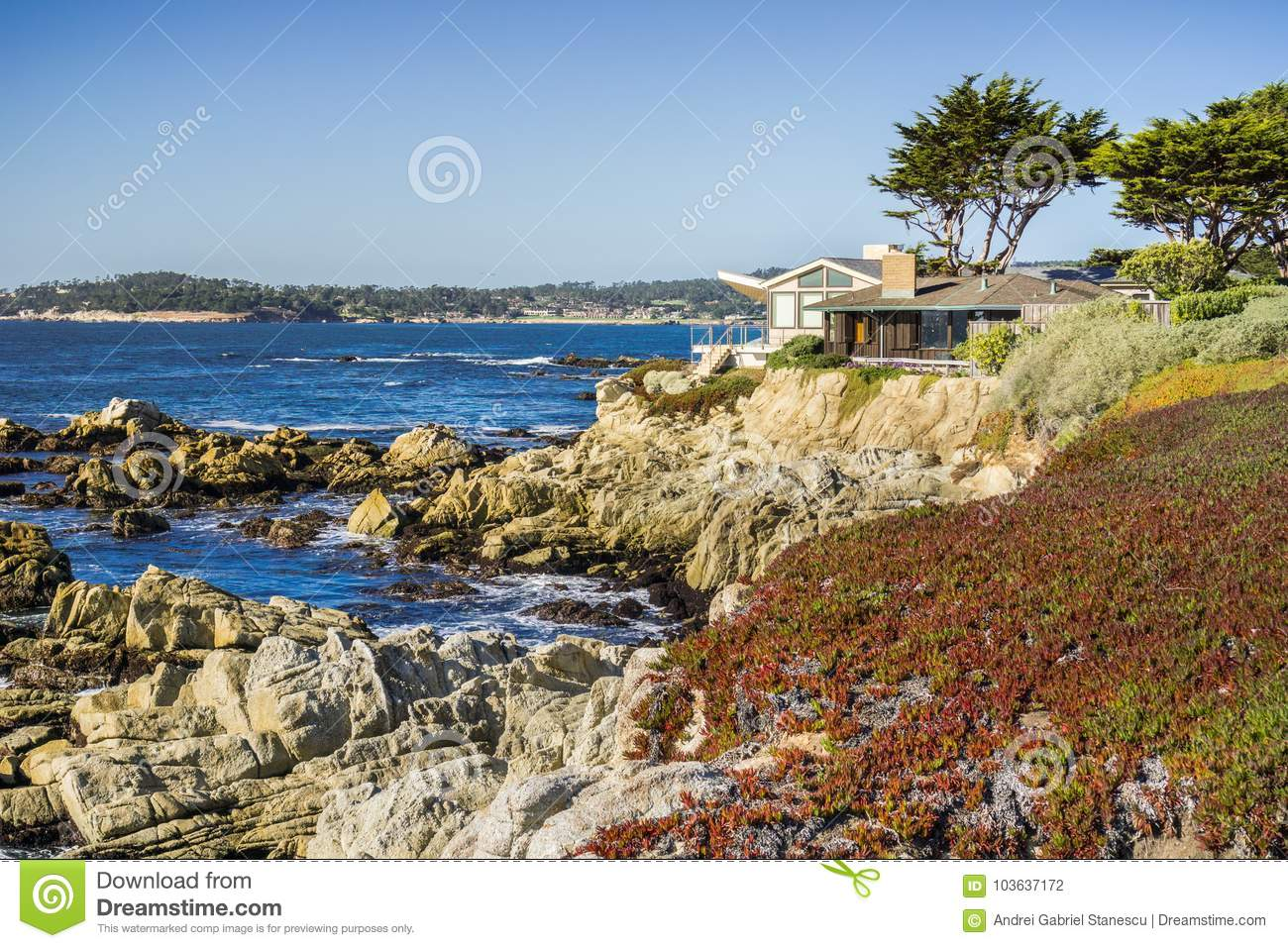 Houses build on the cliffs on the Pacific Ocean, Carmel-by-the-Sea, Monterey Peninsula, California
