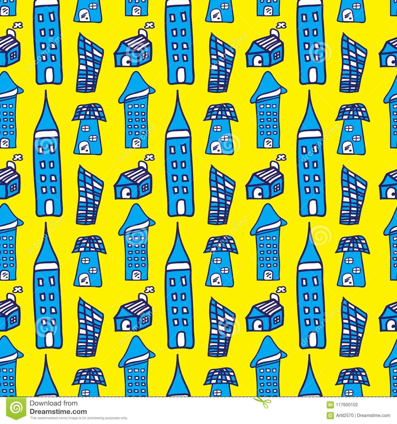 Houses And Buildings Seamless Pattern Vector Illustration For Fabric Cloth Package Wall Decoration Furniture Printing Stock Vector Illustration Of Apartment Flyer 117600102
