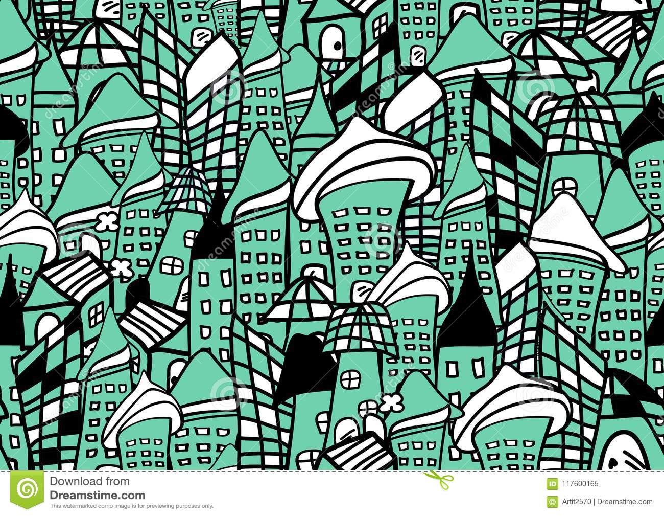 Houses And Buildings Seamless Pattern Vector Illustration For Fabric Cloth Package Wall Decoration Furniture Printing Media Stock Vector Illustration Of Graphic Apartment 117600165