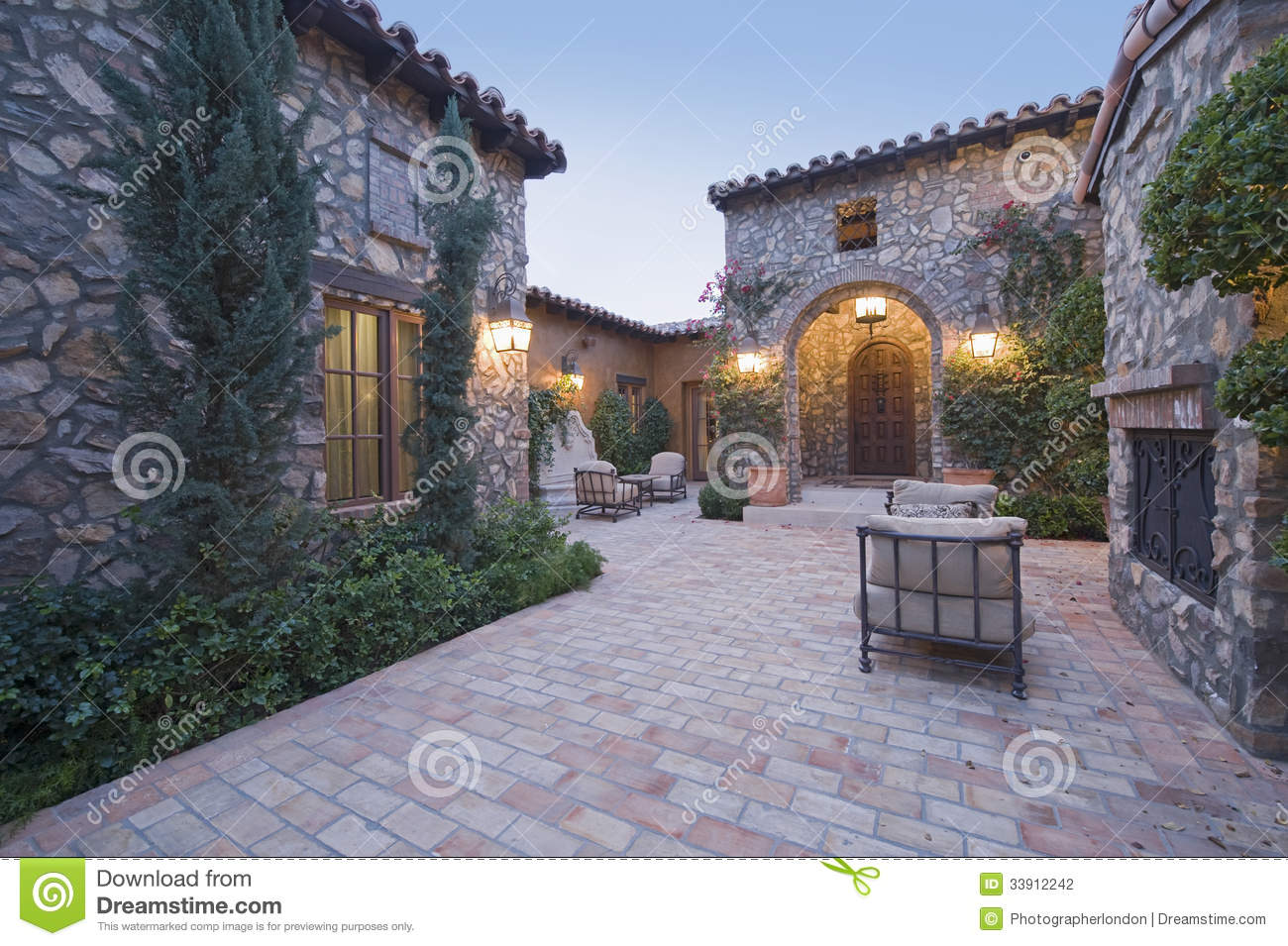 Houses With Chairs In Courtyard Stock Photo Image Of