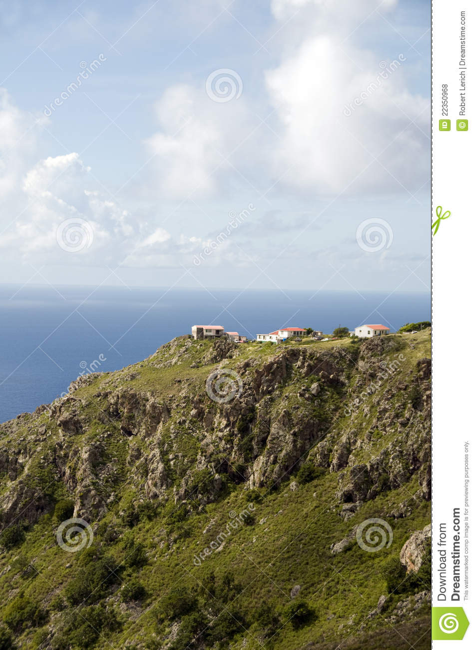 Houses On Cliff Saba Dutch Netherlands Antilles Stock