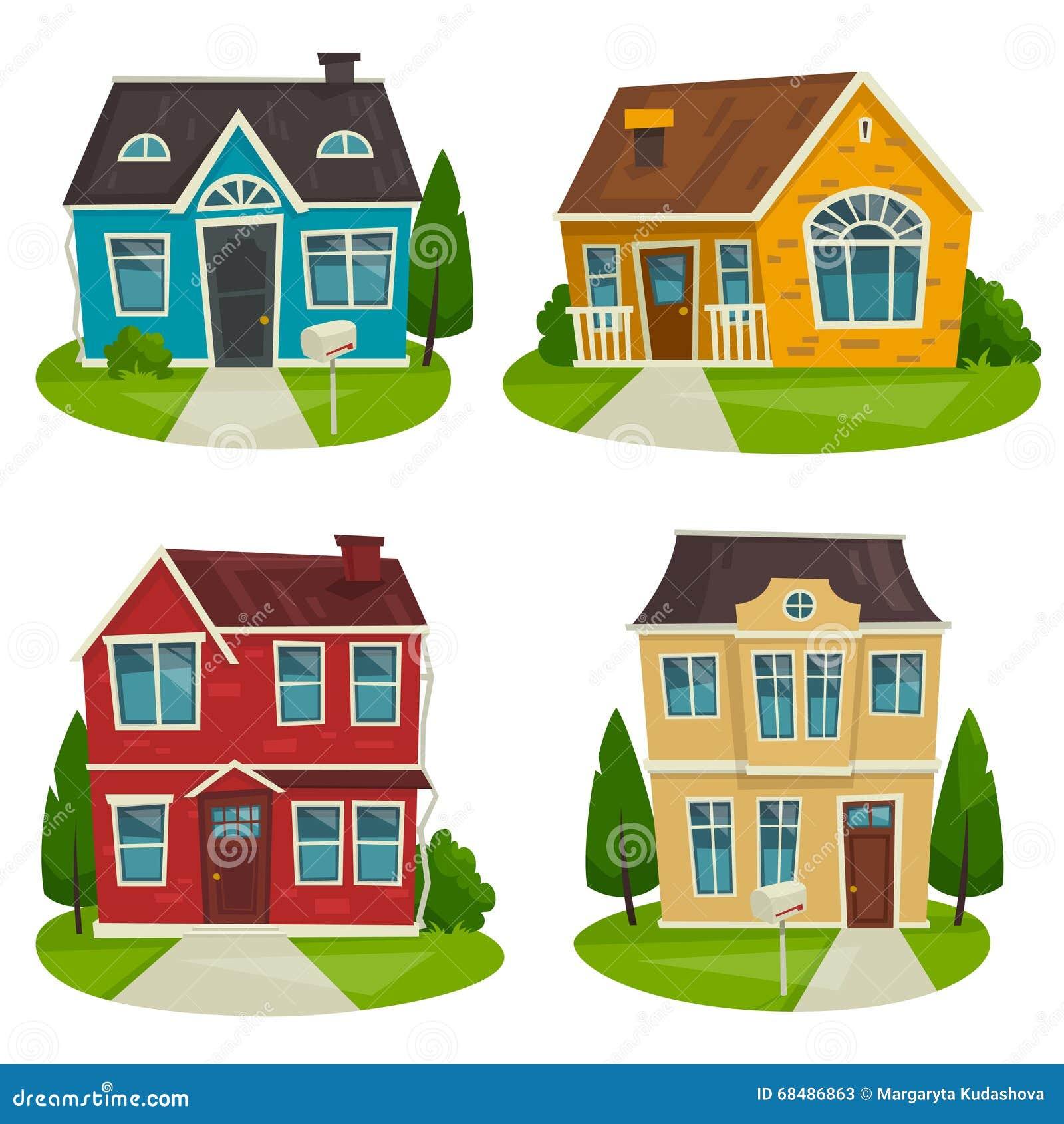 House design cartoon - Royalty Free Vector Download Houses Cottage Set Vector Cartoon Illustration Exterior Design