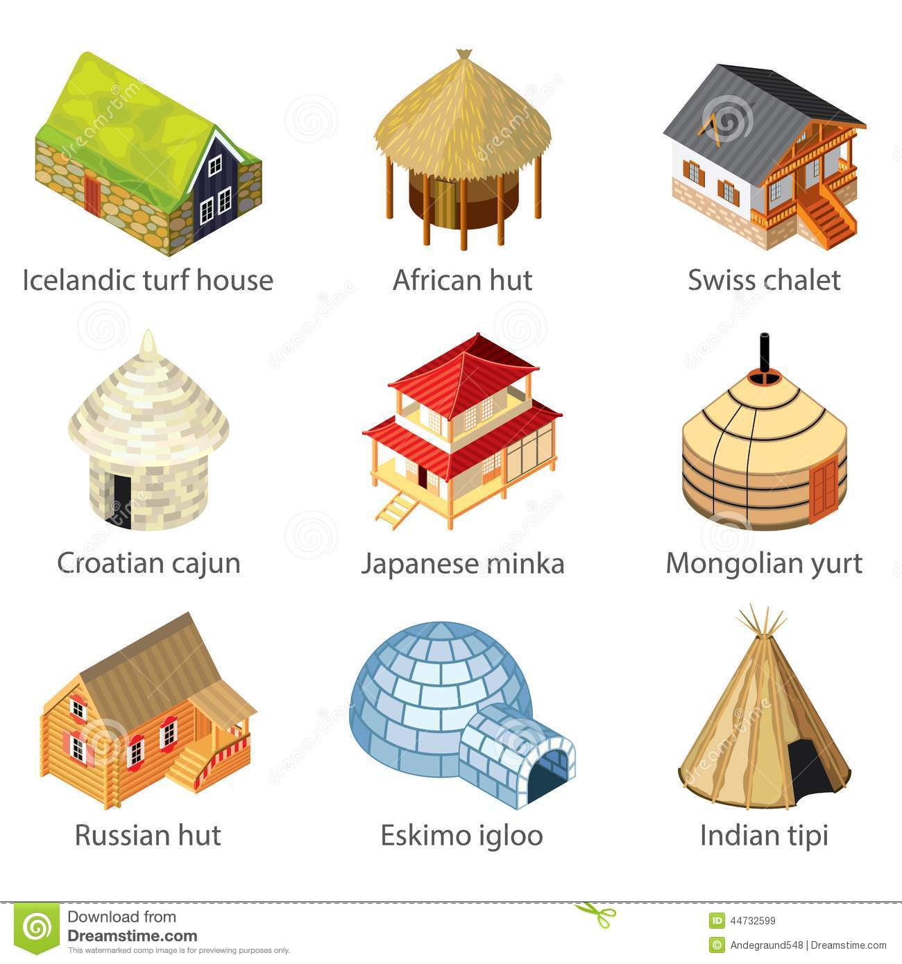 Houses Of Different Nations Icons Vector Set Stock Vector