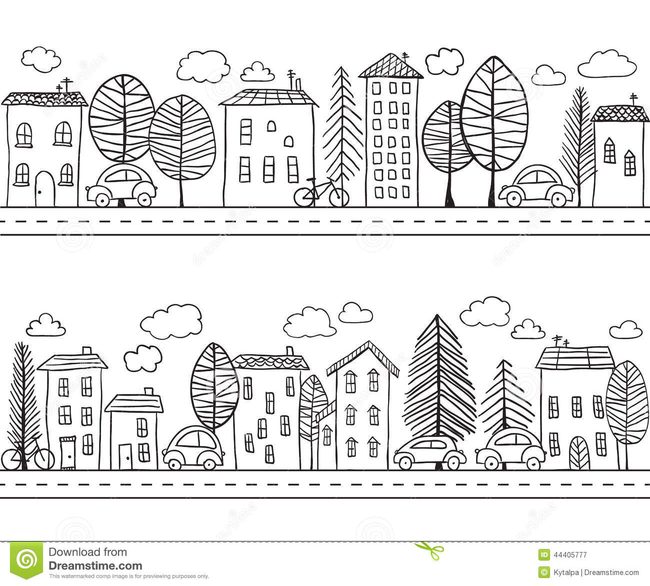 Houses doodles seamless pattern stock vector image 44405777 for Draw house online