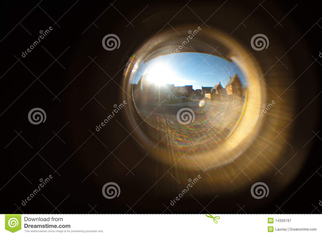 Superior Houses In Door Peep Hole Royalty Free Stock Photography