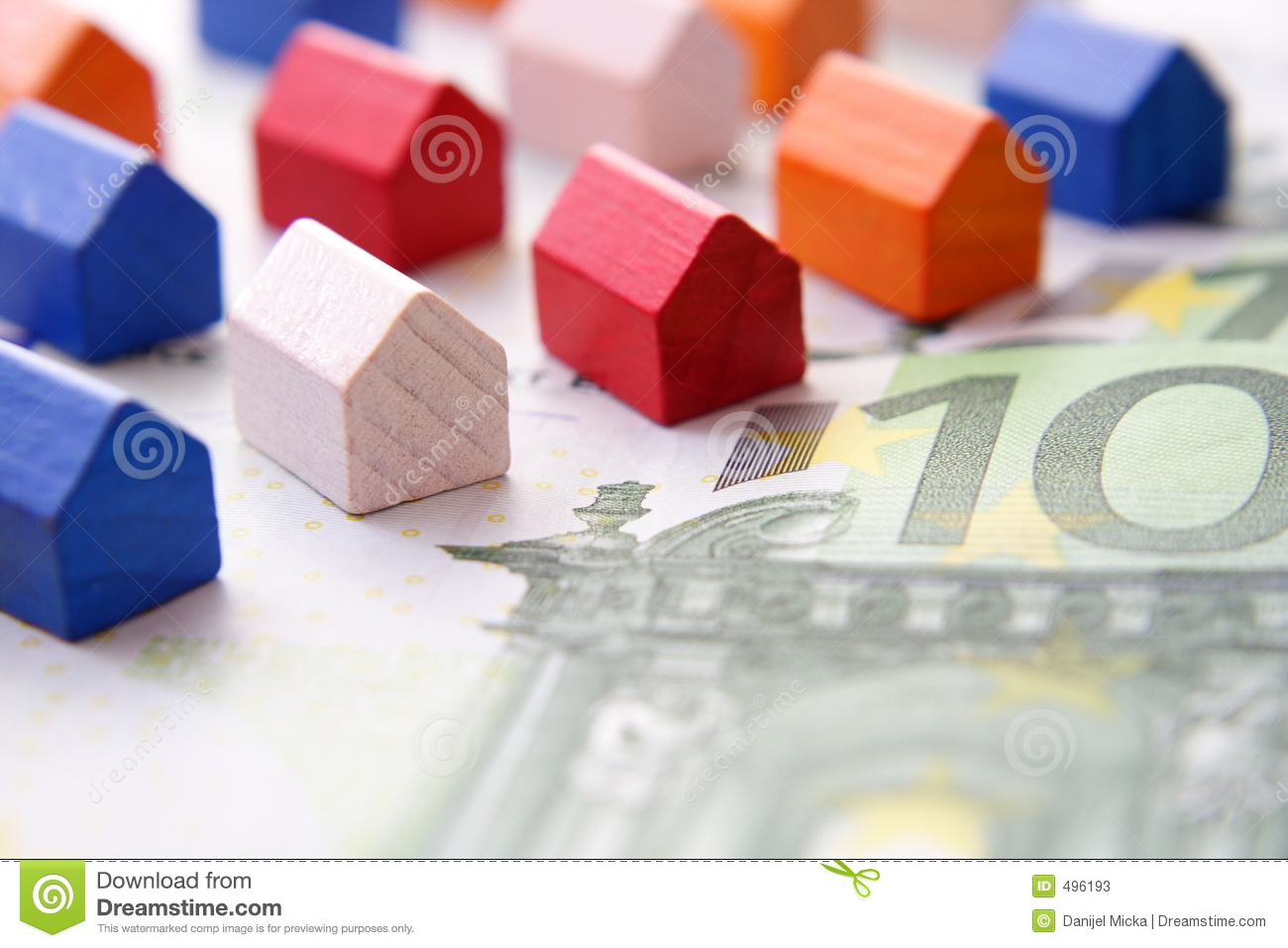 Houses on euro bill