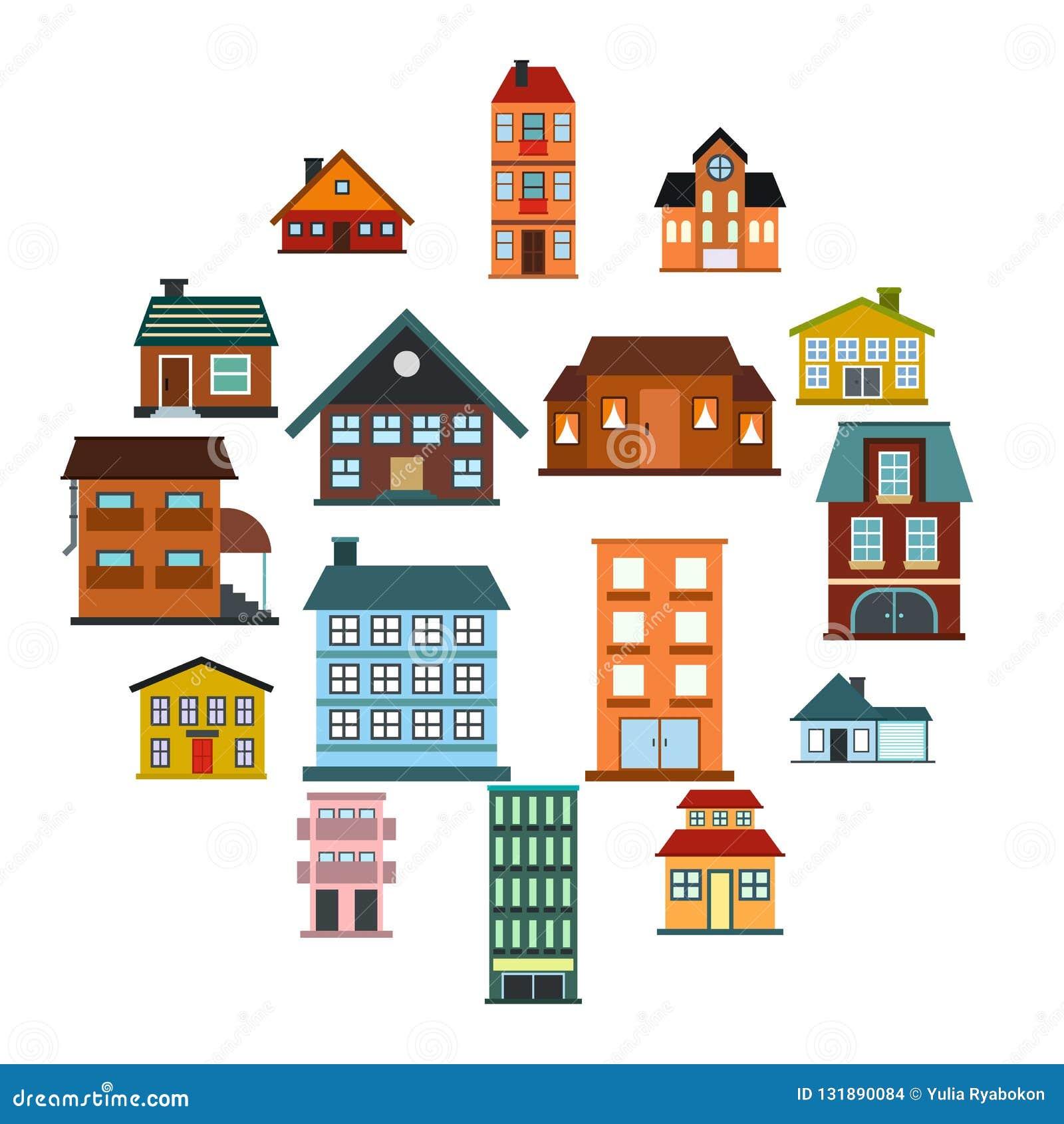 Houses flat icons set. Isolated on white background stock images