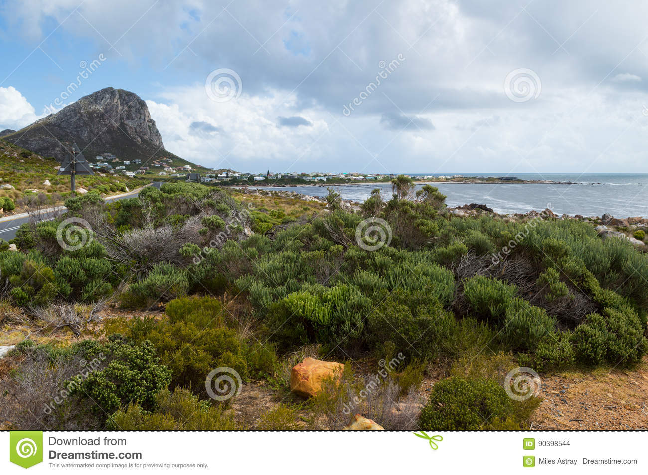 Houses At The Foothills Of A Cliff, Garden Route, South Africa Stock ...