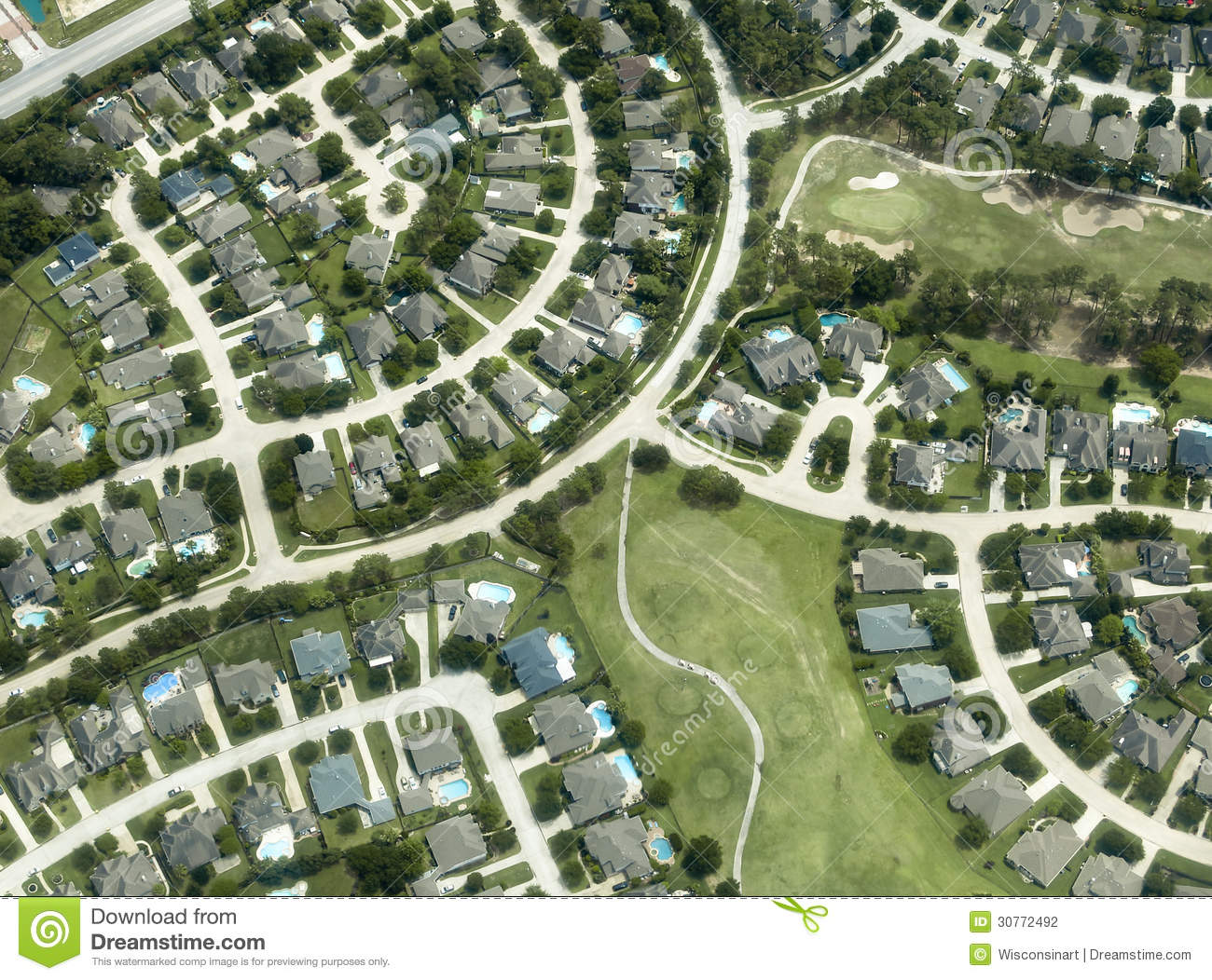 Houses homes neighborhood aerial view stock photography for Cookie cutter house plans