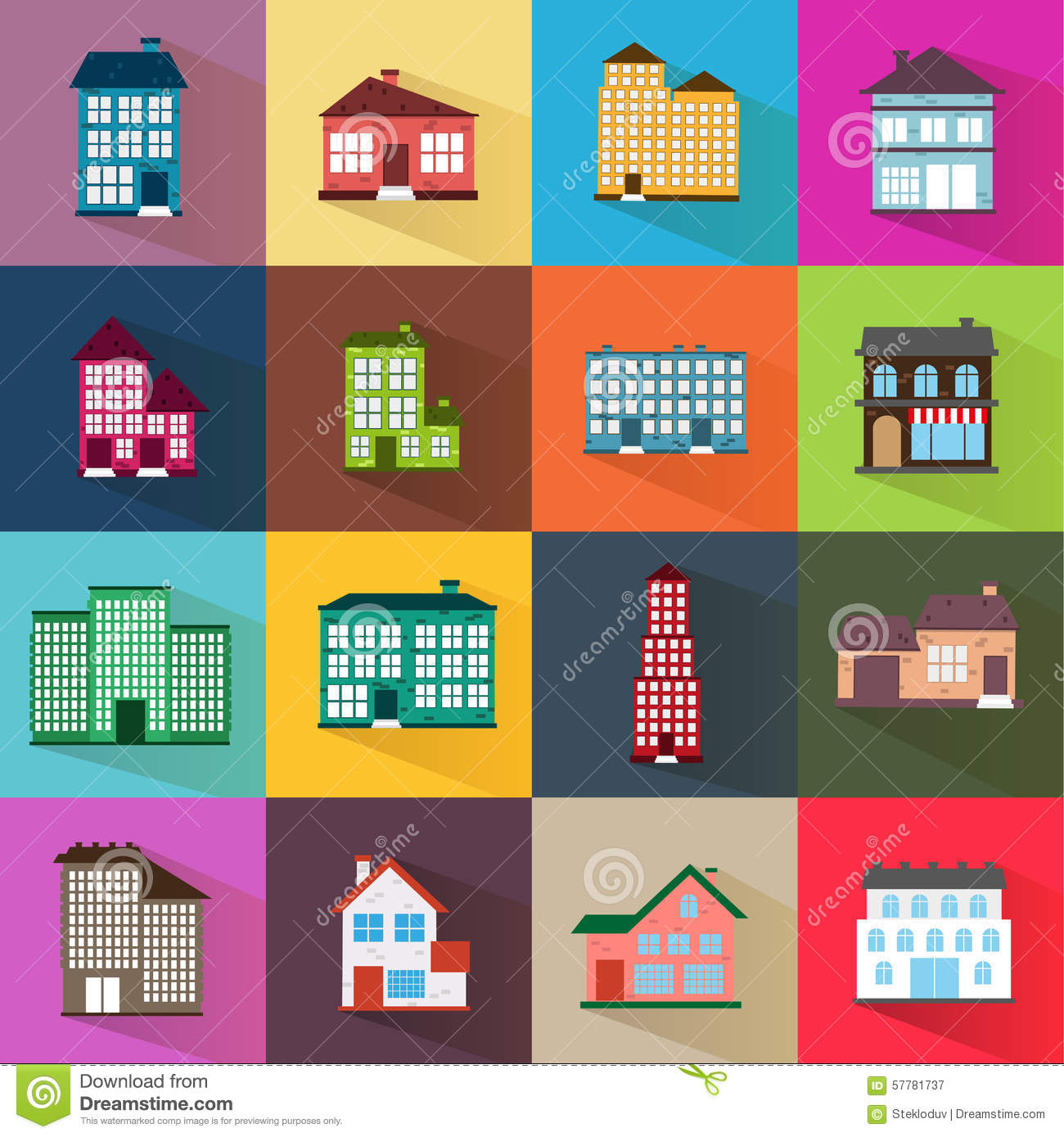 Houses icons set flat style stock vector image 57781737 for Different shapes of houses