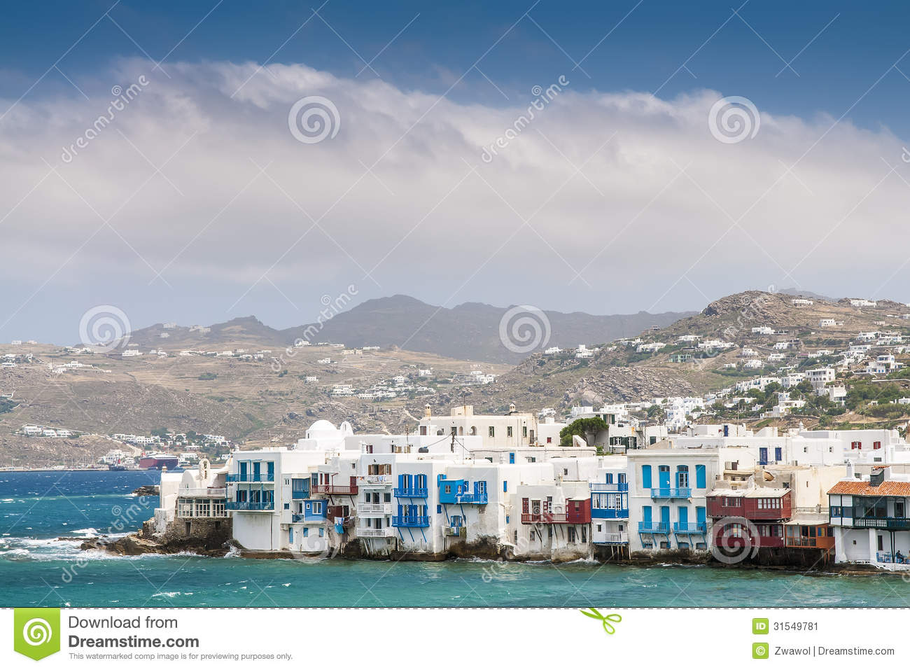 ... of island Mykonos from the mountains to the sea in sunny weather