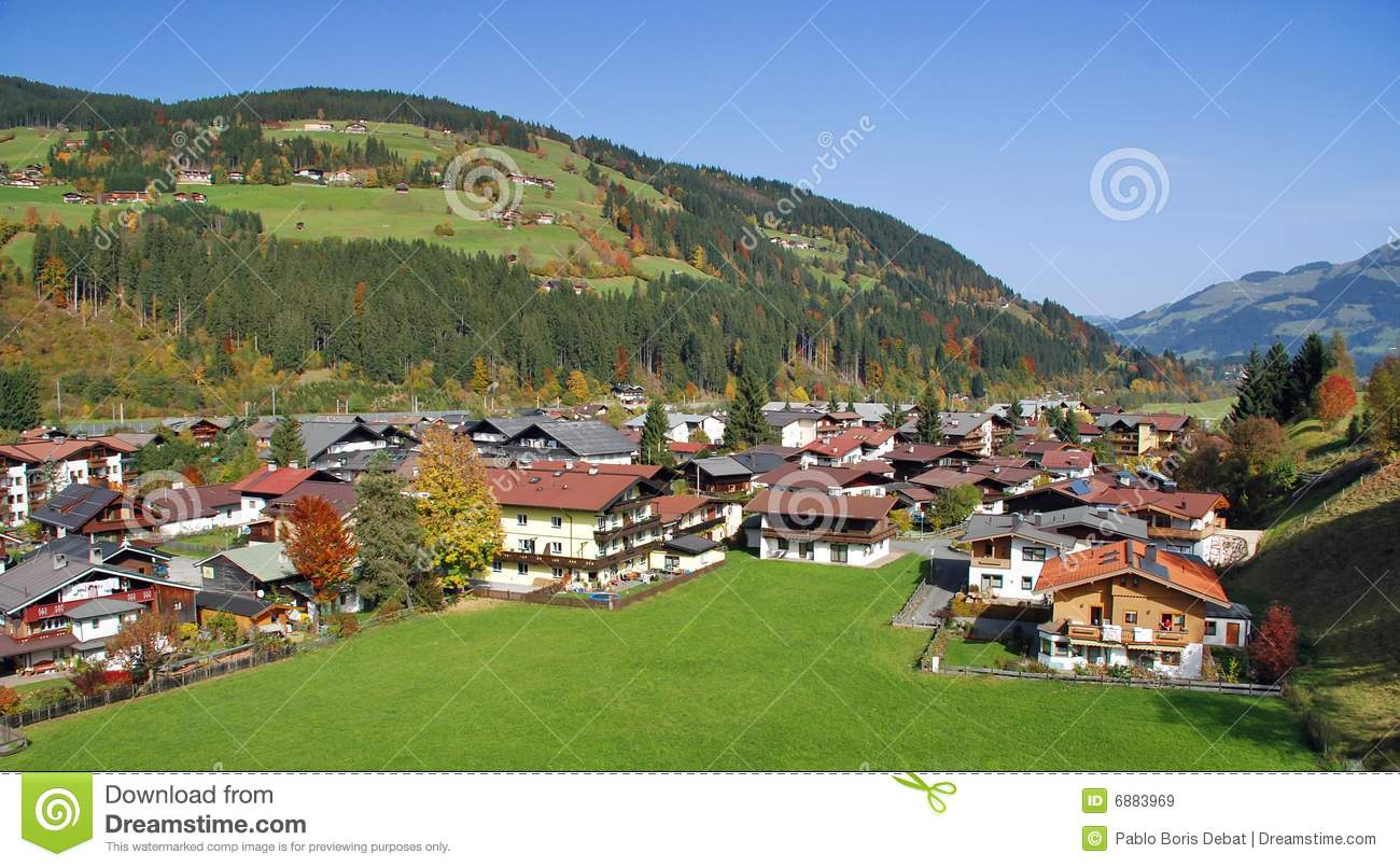 Kitzbuhel Austria  City pictures : Houses At Kirchberg In Tirol Kitzbuhel Austria Royalty Free Stock ...