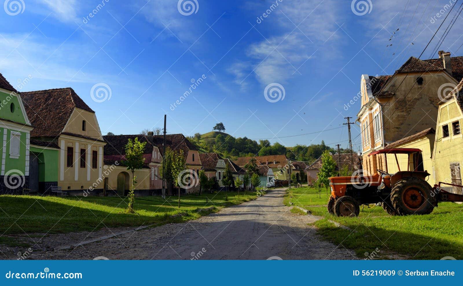 Houses on lane in copsa mare transylvania romania stock photo image 56219009 - Saxon style houses in transylvania ...