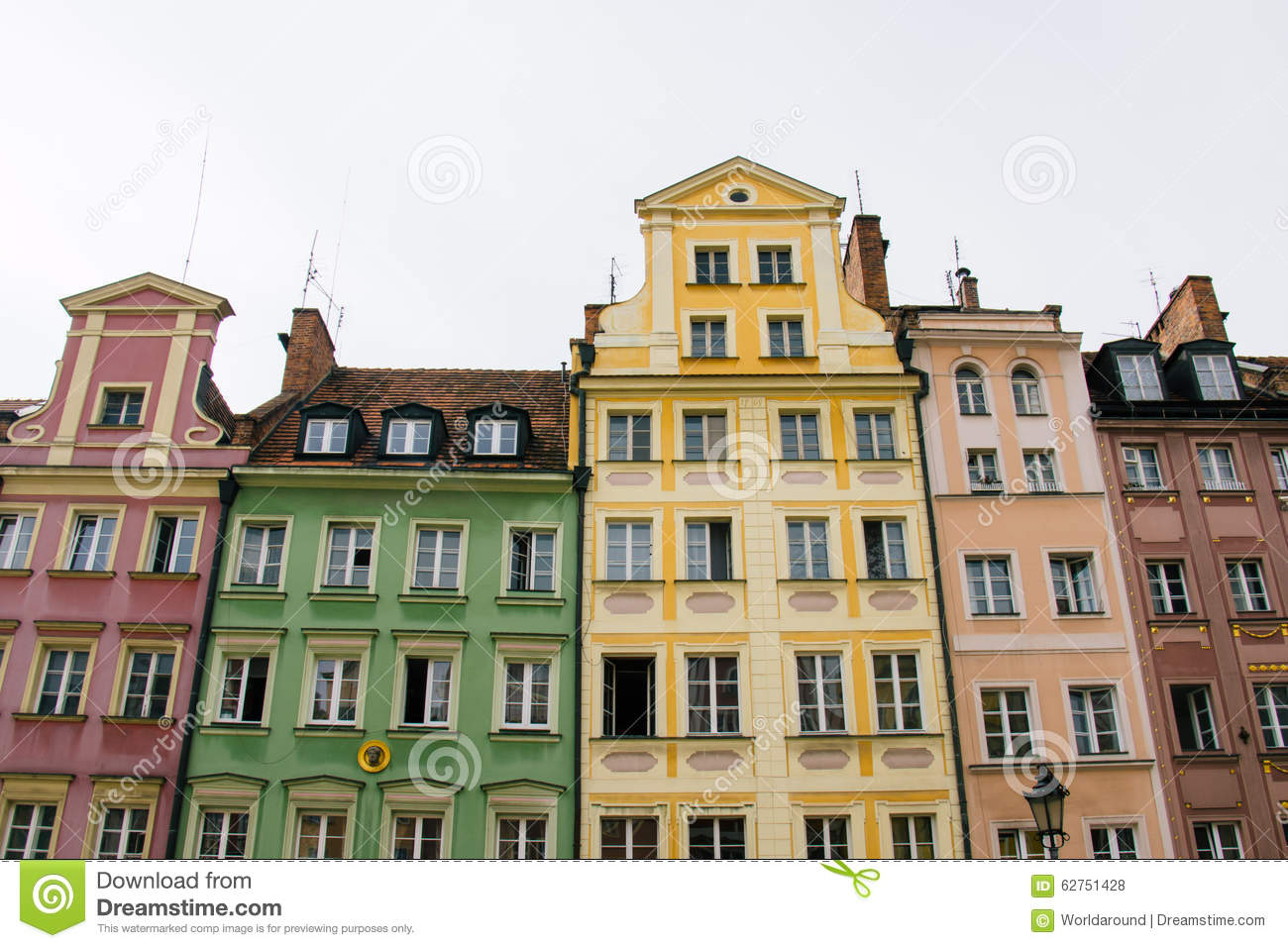 Houses On Market Square Rynek In Wroclaw Poland Stock