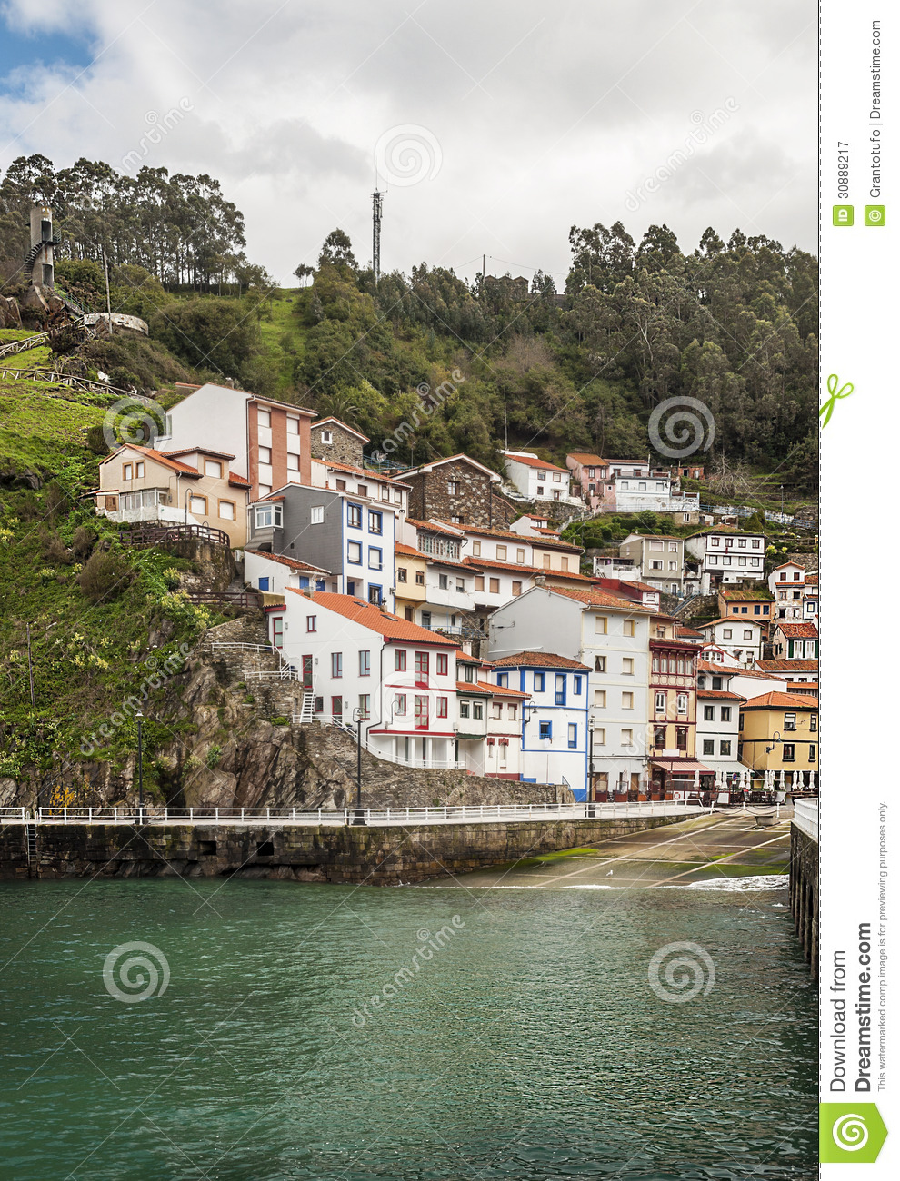 houses near the sea in cudillero royalty free stock