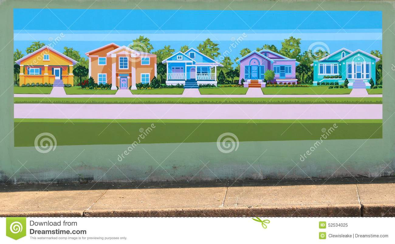 houses in a neighborhood mural on james road in memphis tennessee editorial image image. Black Bedroom Furniture Sets. Home Design Ideas