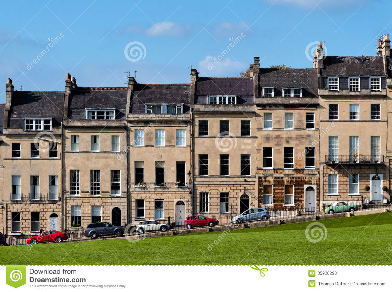 Houses Overlooking A Park Royalty Free Stock Photos