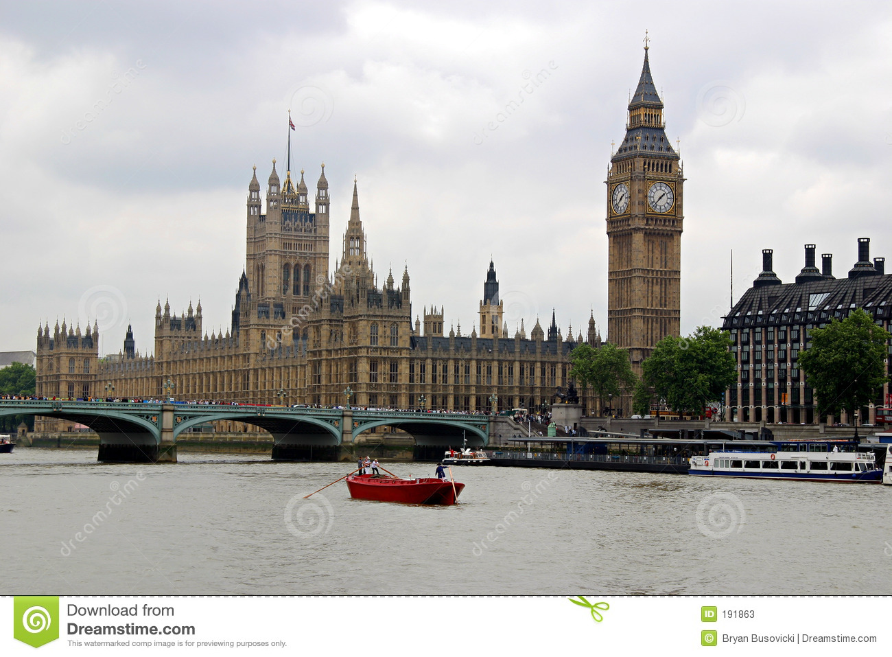 Houses Of Parliament Big Ben And Thames River Stock