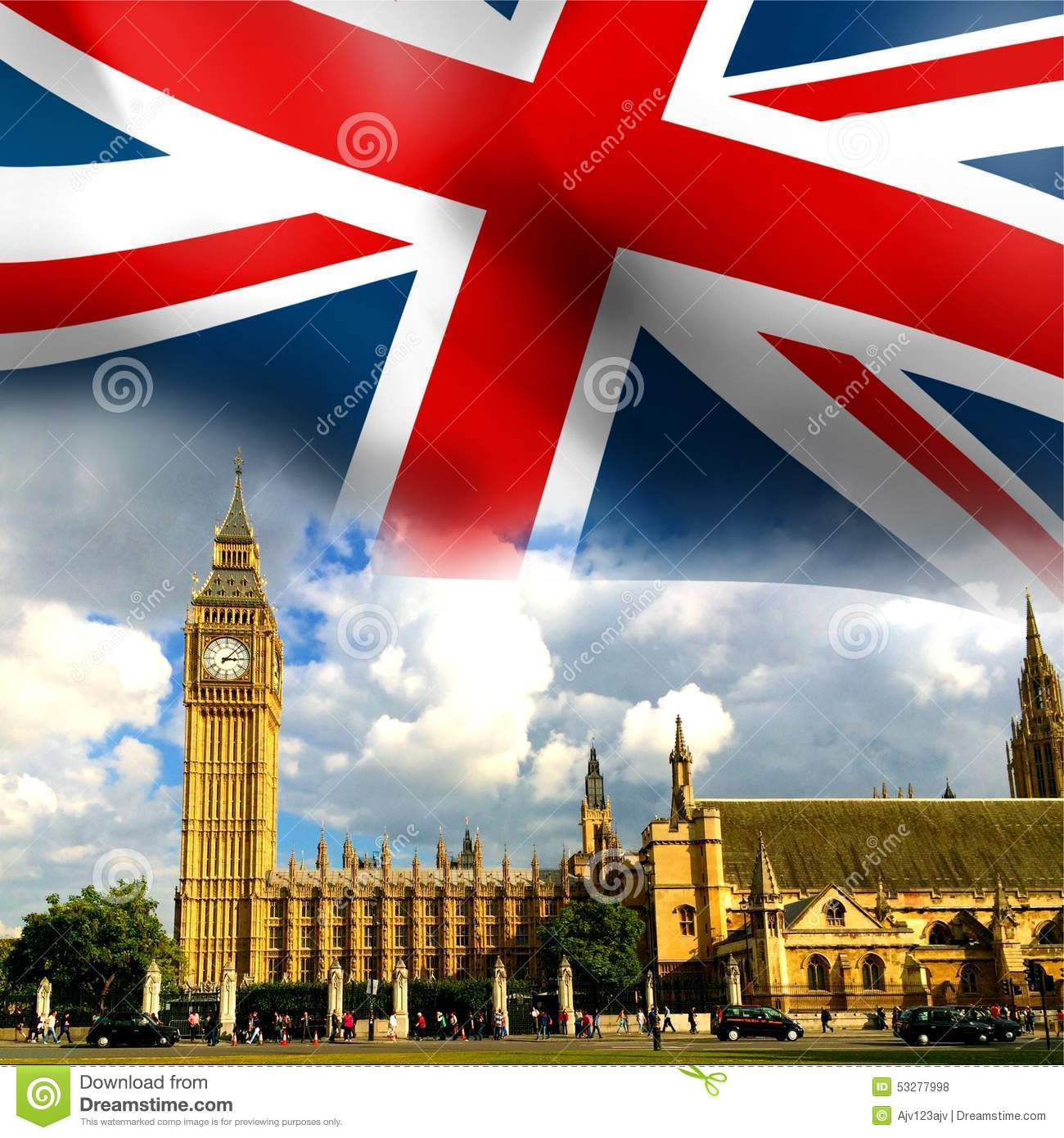 The Houses Of Parliament With Union Jack Flag In Background And Big Ben Clock
