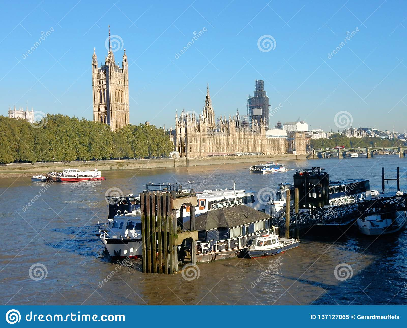 Houses of Parliament or Palace of Westminster on the River Thames, London, United Kingdom