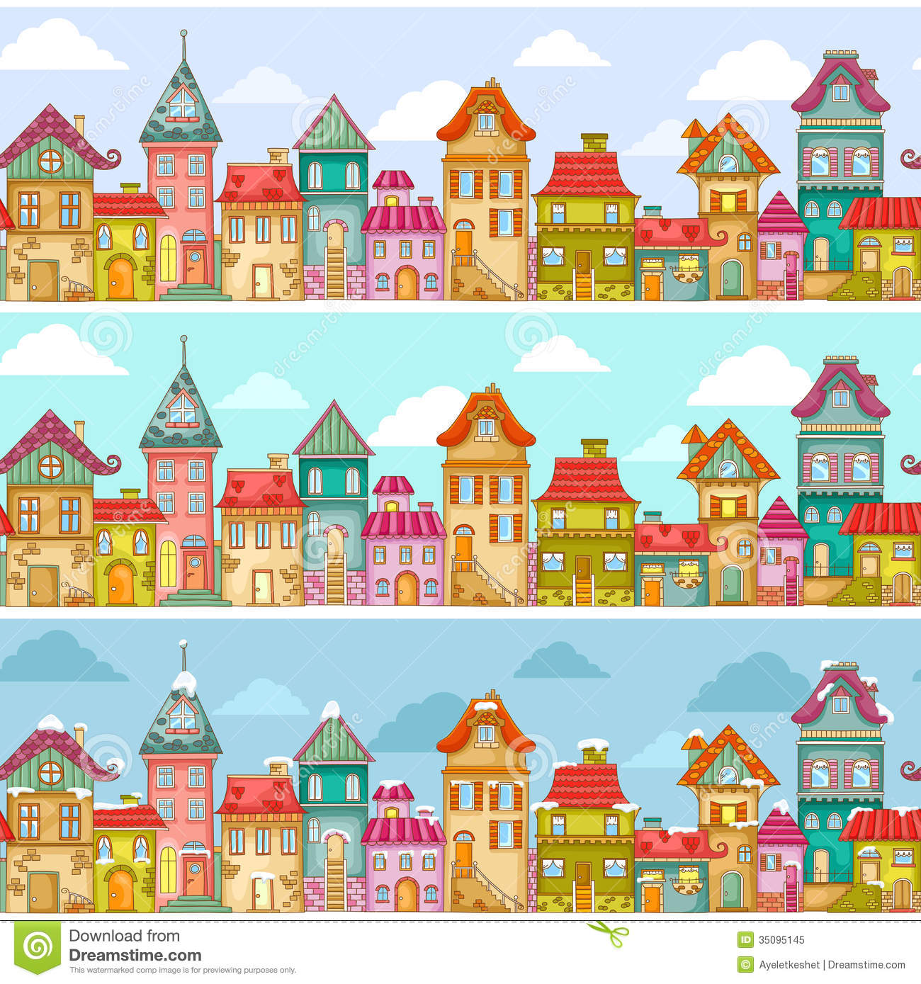 Houses Pattern Stock Vector Image Of Decorative