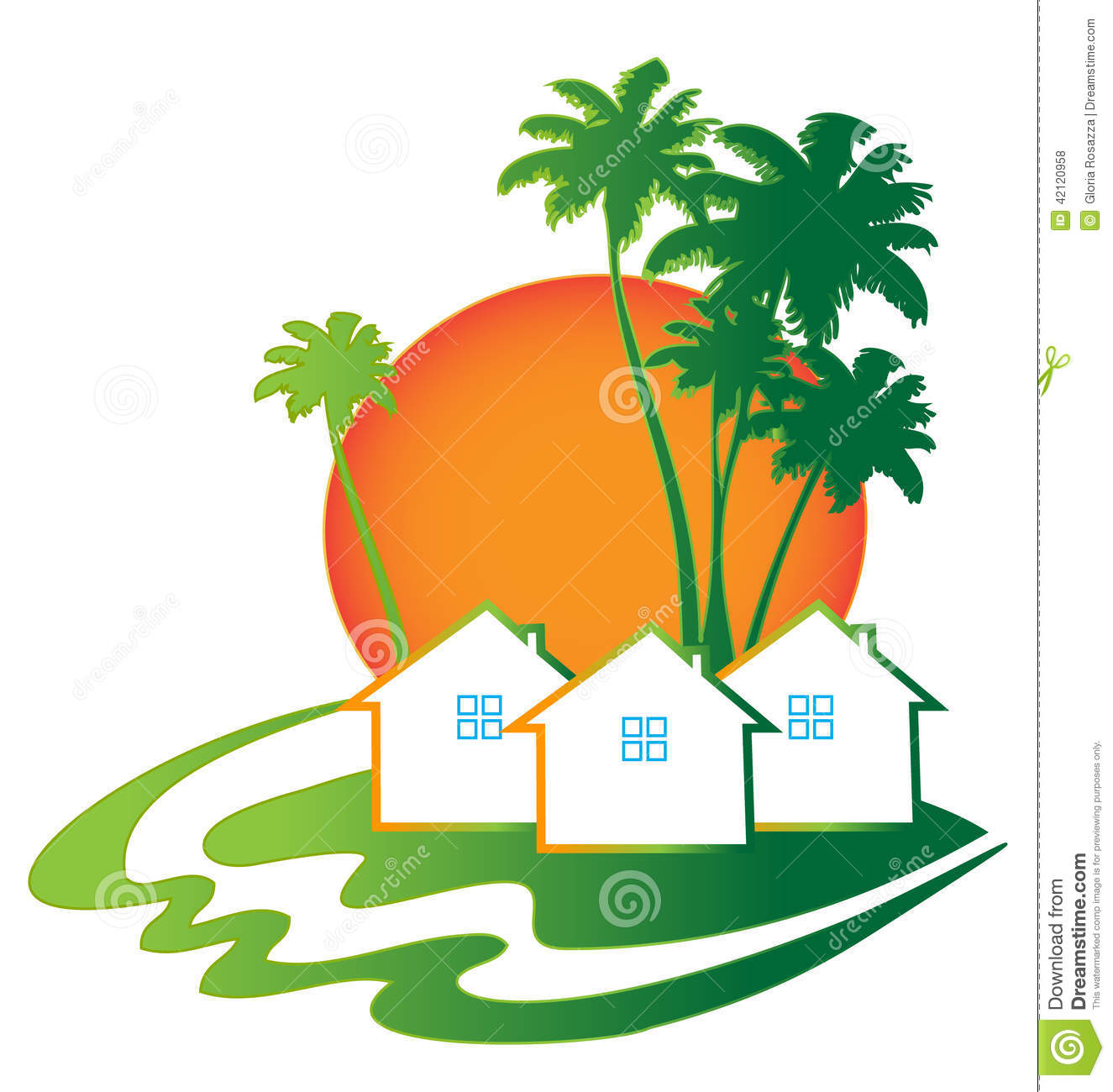Houses Real Estate Business Card Logo Stock Vector - Image: 42120958