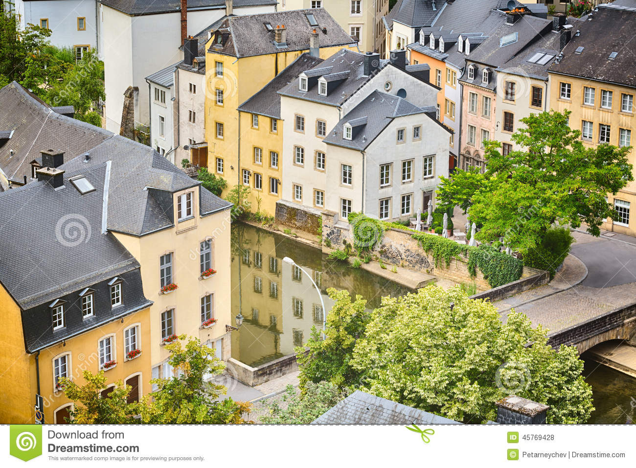 Houses and river canal in luxembourg stock photo image for Luxembourg homes