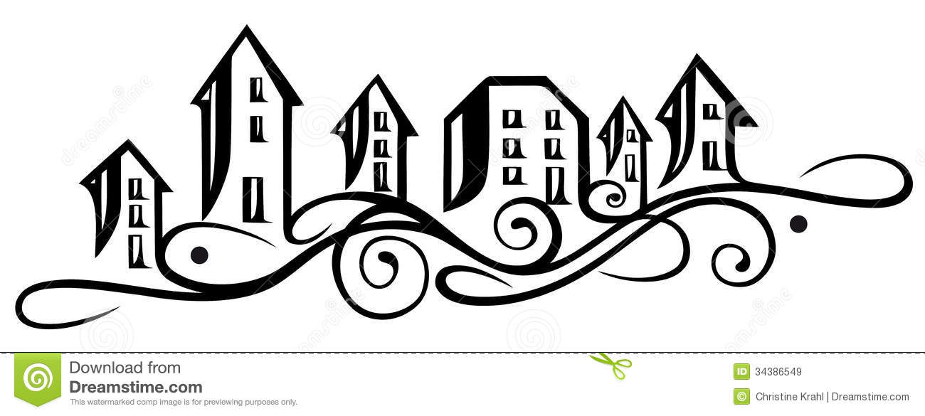 Royalty Free Stock Images Houses Silhouette Abstract Vector Illustration Image34386549 on Small House Plan 3d Home Design