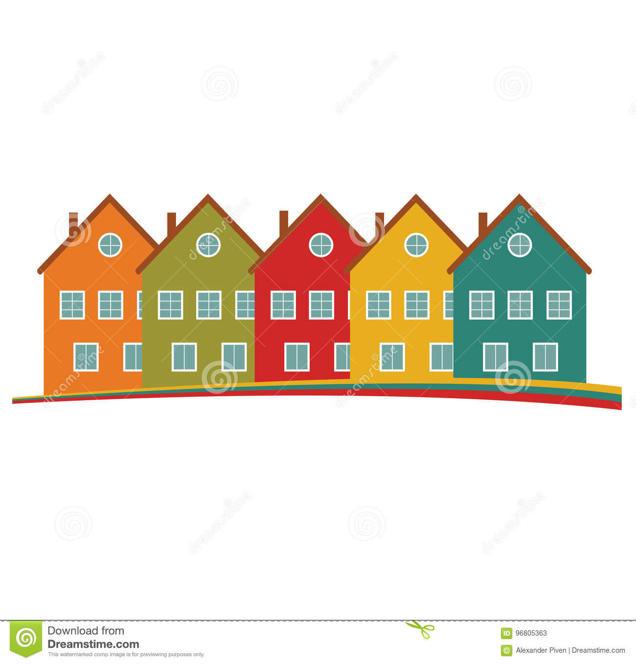 Houses Silhouettes Vector. Stock Vector. Illustration Of