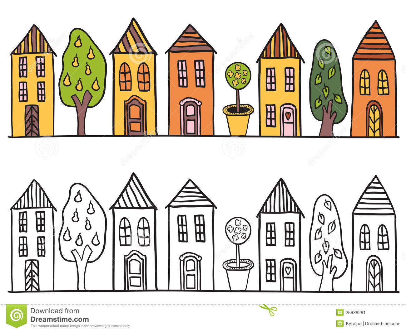 Houses In Small Town Pattern Stock Image Image 25936261
