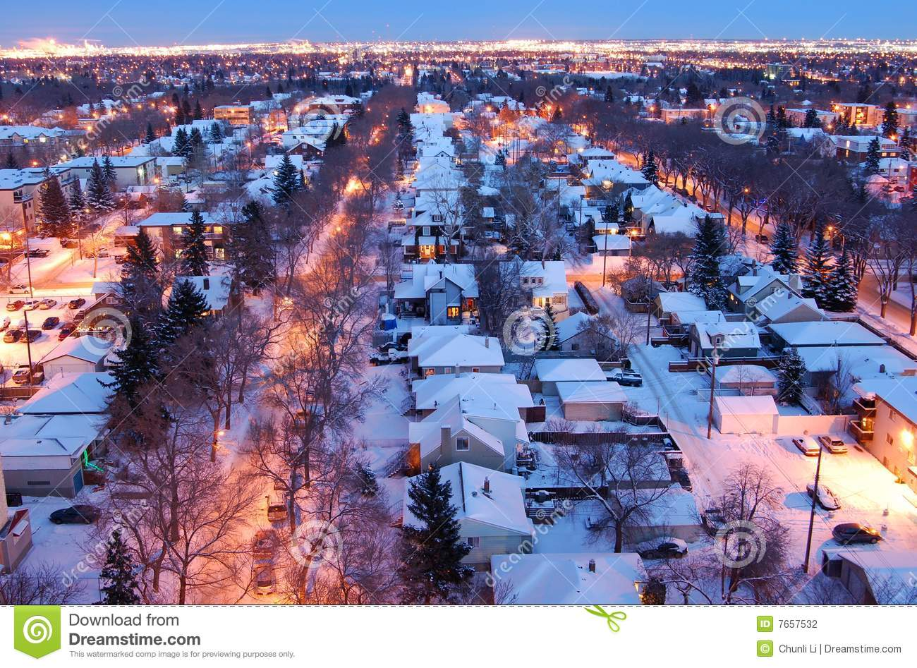Houses And Streets In A Winter Night Stock Photo Image