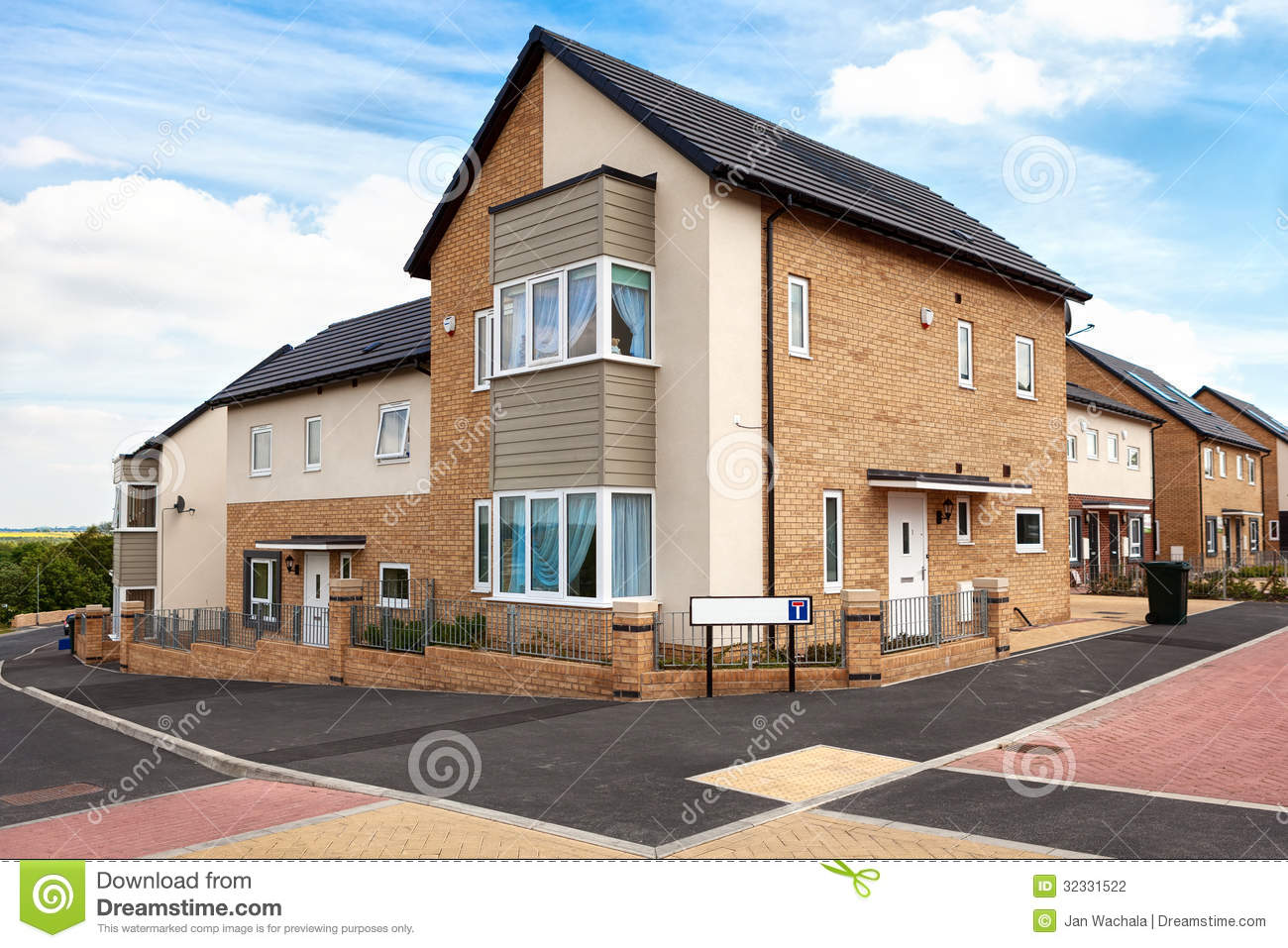 Houses on a typical english residential estate stock photo for Typical house design
