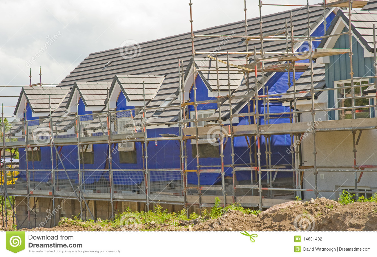 Houses under construction with thermal lagging.