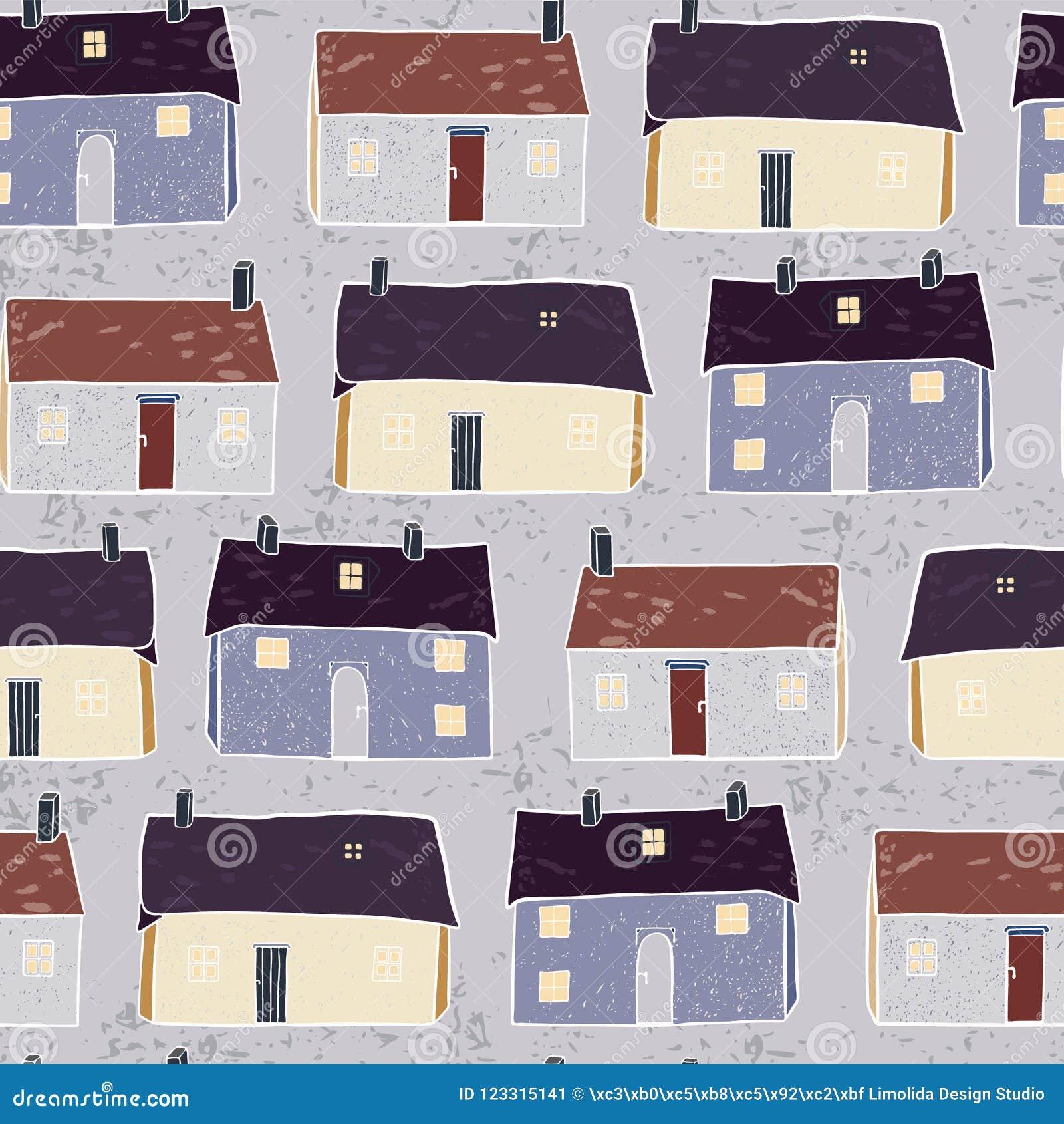 Houses Village Xmas Pattern Repeat Grey Brown