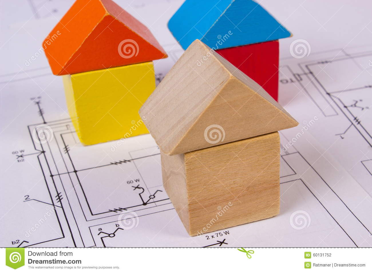 Houses Of Wooden Blocks On Construction Drawing House Building Electrical Concept