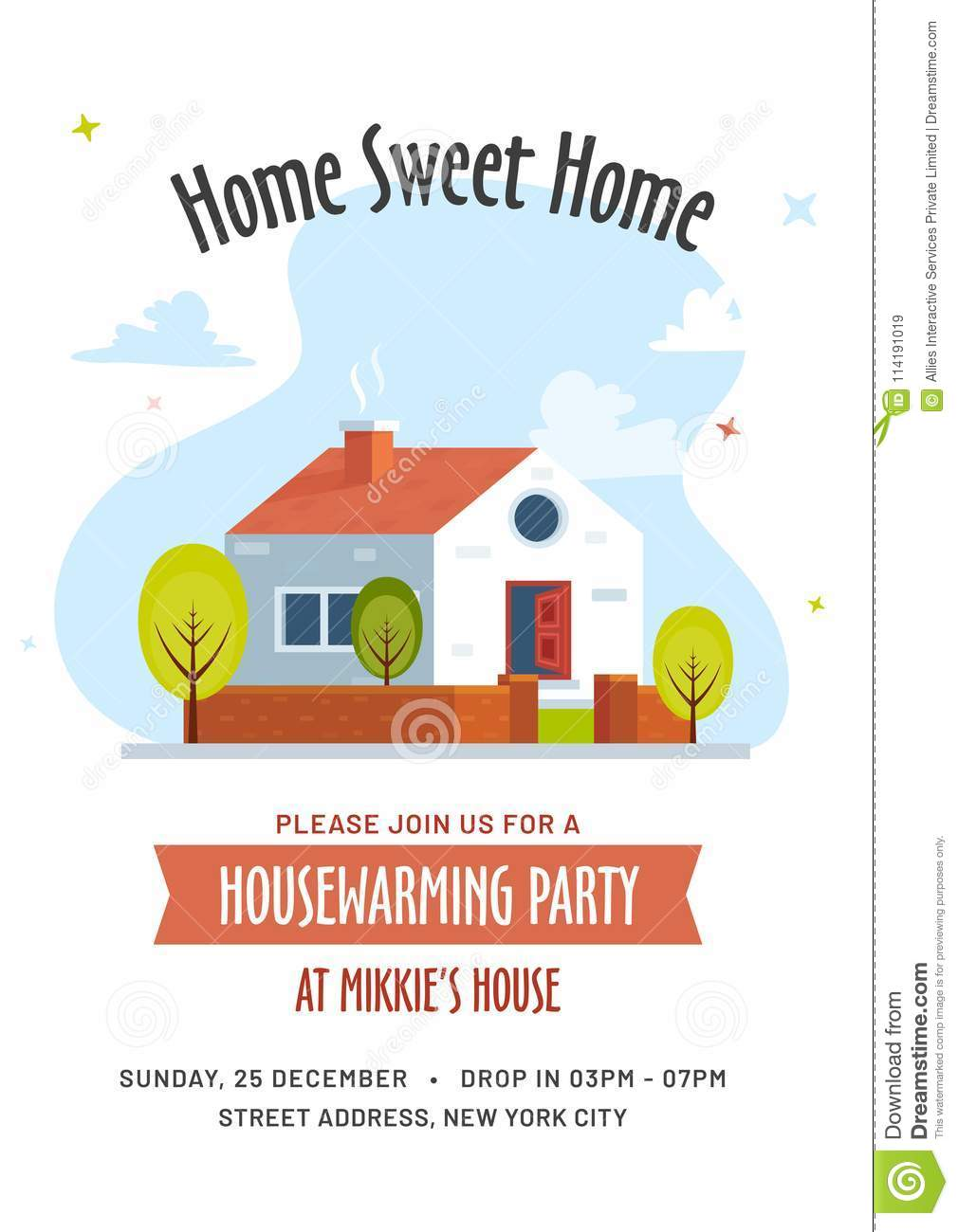 Housewarming Party Invitation Card Stock Illustration