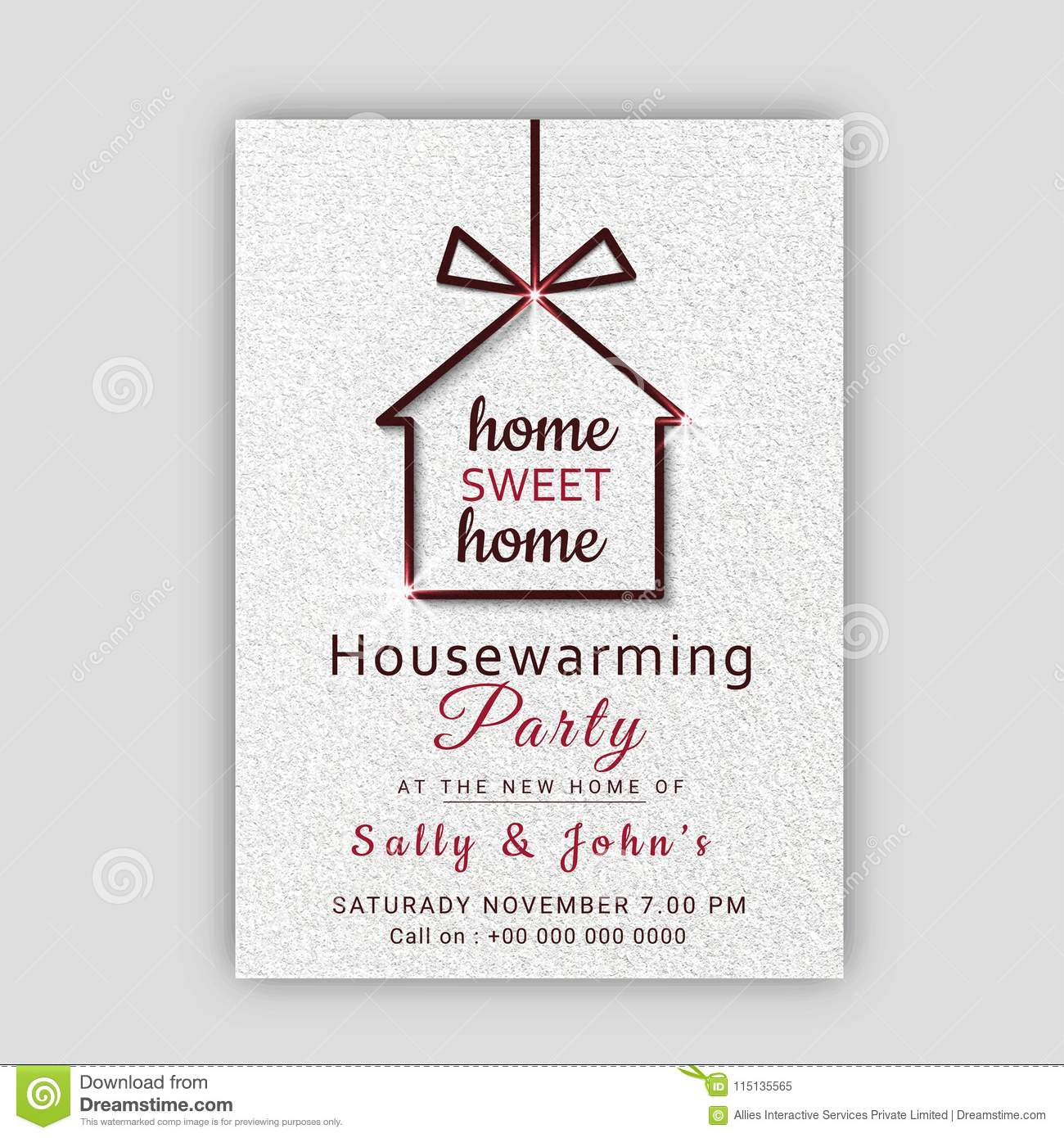 Housewarming Party Invitation Card Design Stock