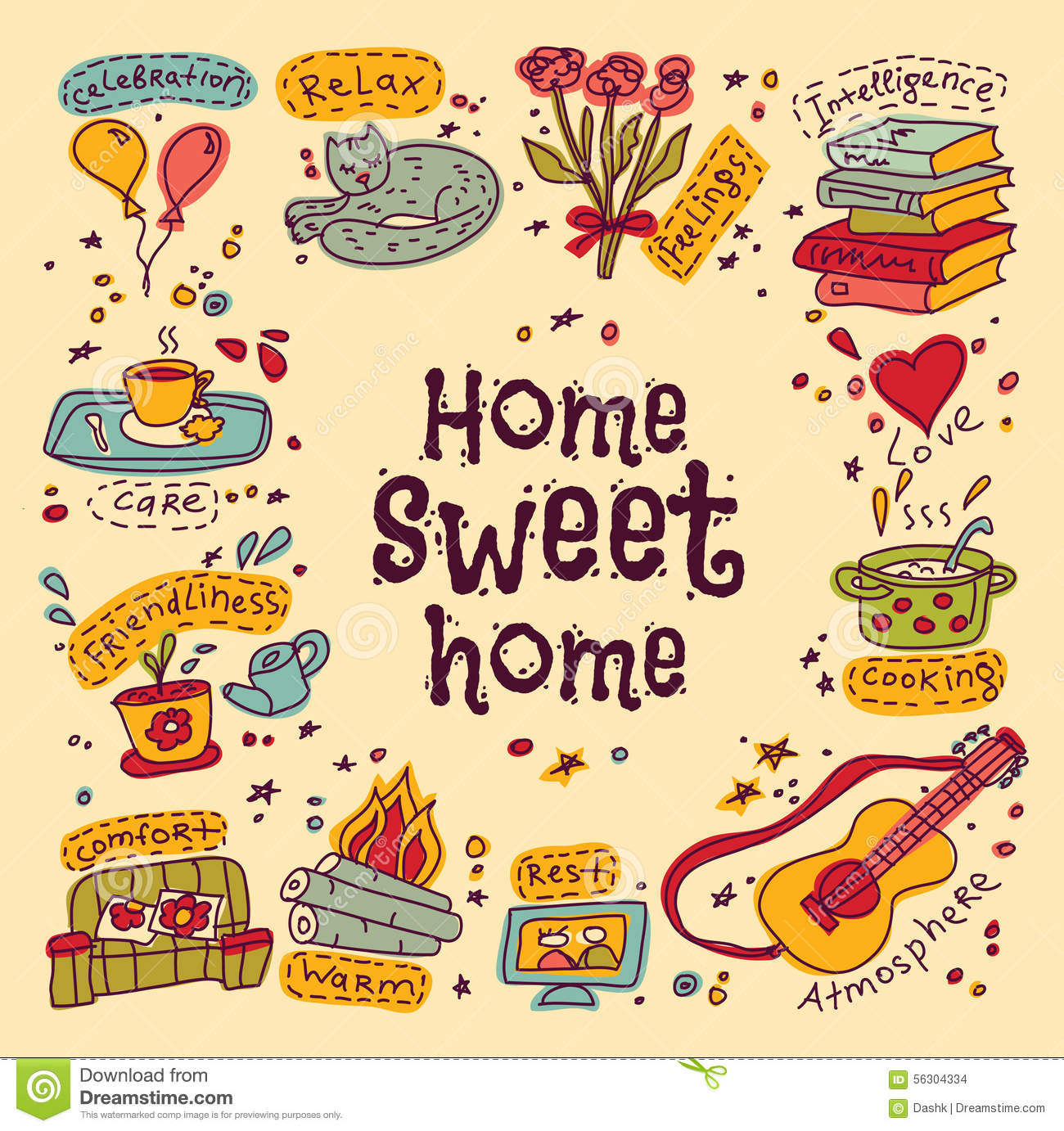 Housewarming stock illustrations 954 housewarming stock housewarming sweet home greeting card set of home and family color symbols signs of kristyandbryce Image collections