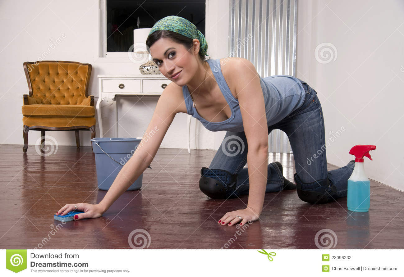 Housewife Wearing Knee Pads Cleaning Wood Floor Stock Photography ...