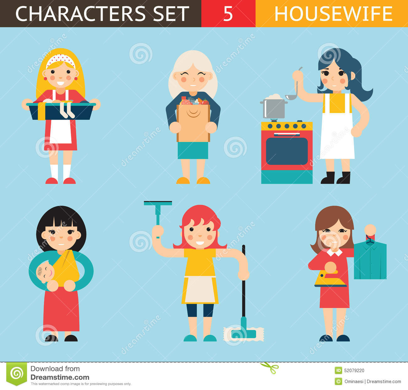 Illustrator Character Design Templates : Housewife characters icon set symbol with stock vector