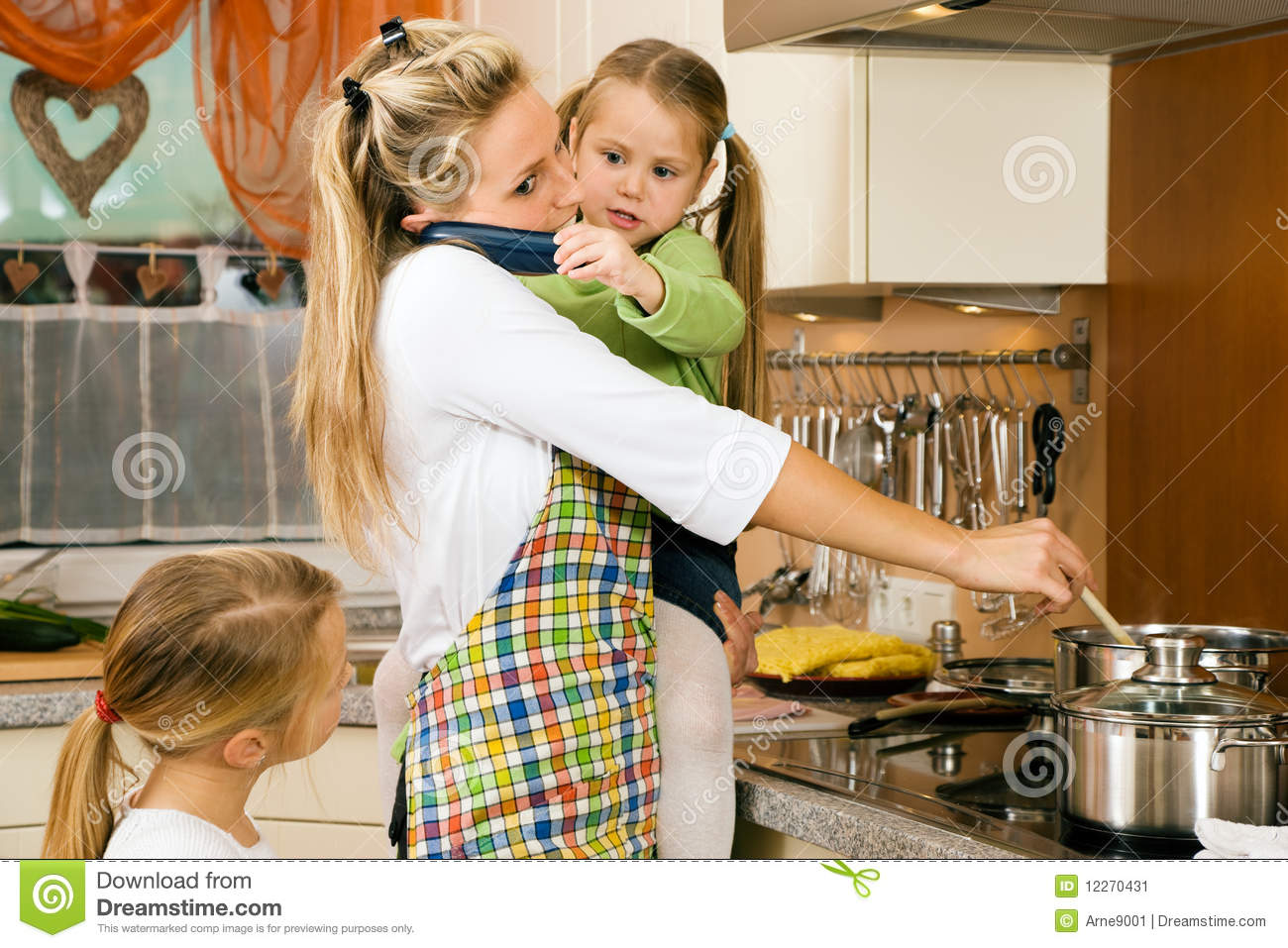 Housewife And Children Having Stress Stock Image Image