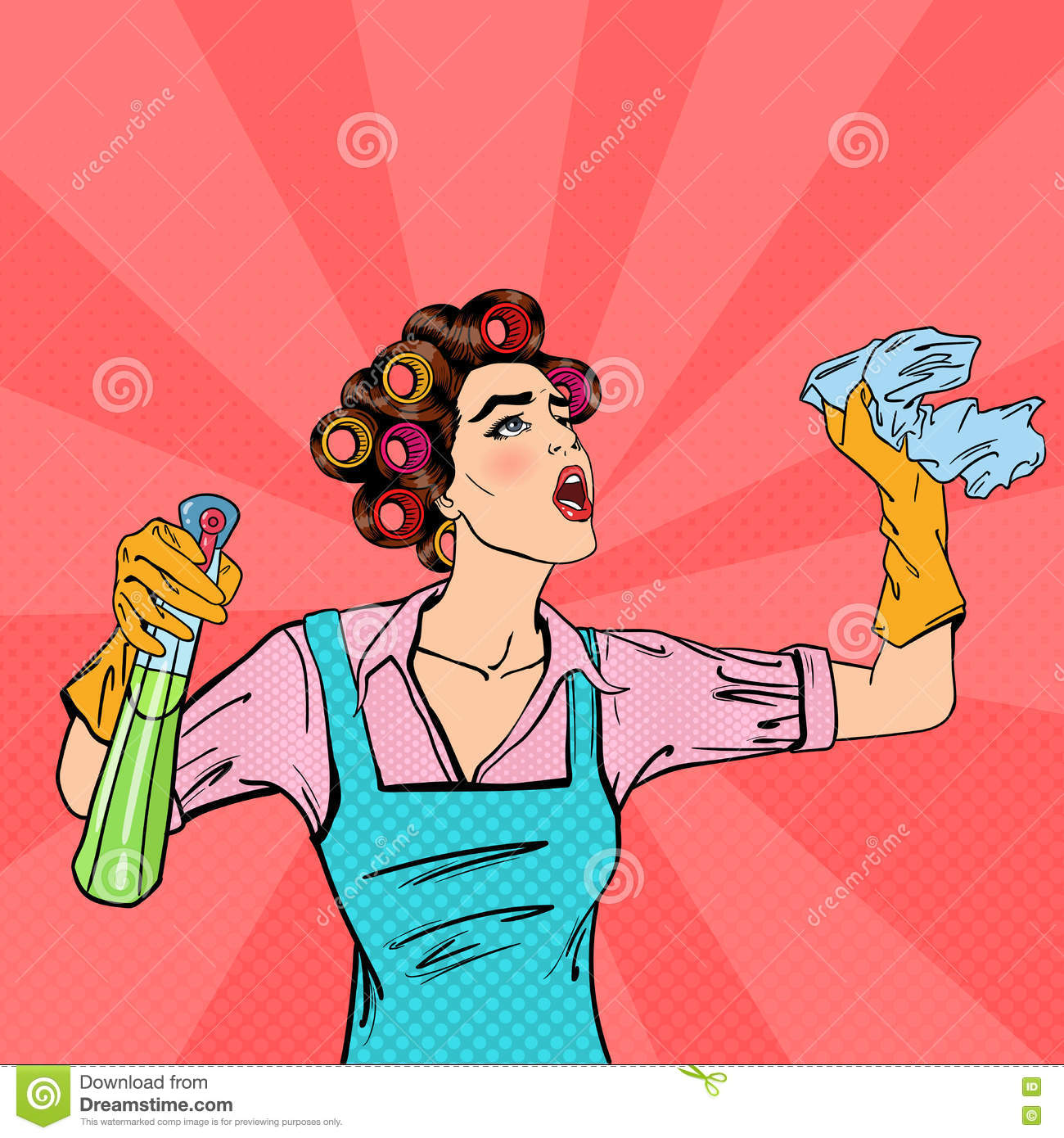 housewife cleaning the house with spray and rag pop art