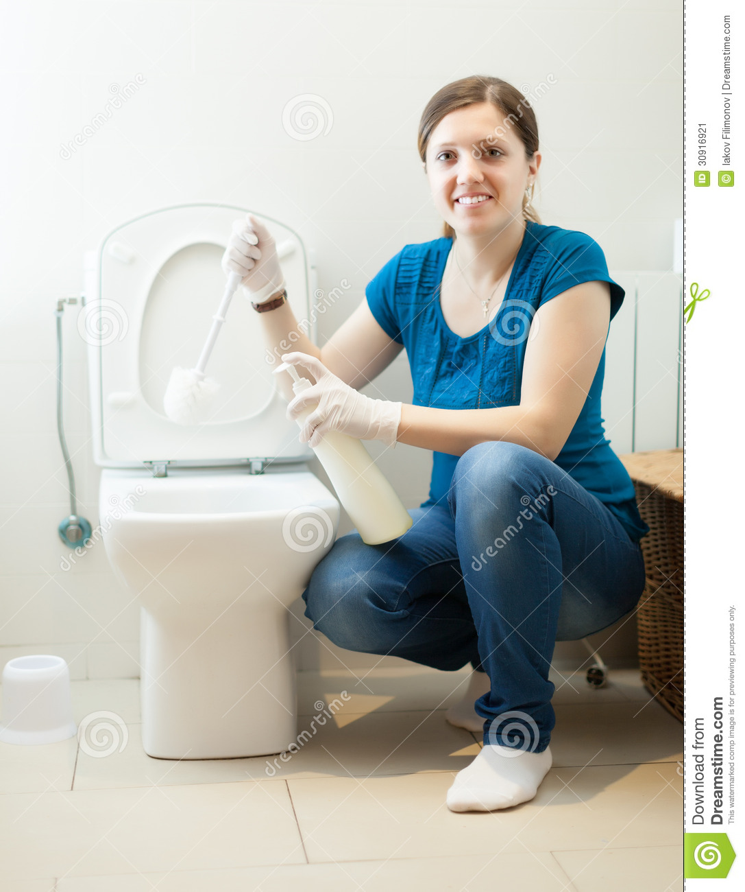 Housewife Cleaning Toilet Bowl With Brush Stock Image Image Of - Bathroom cleaner person